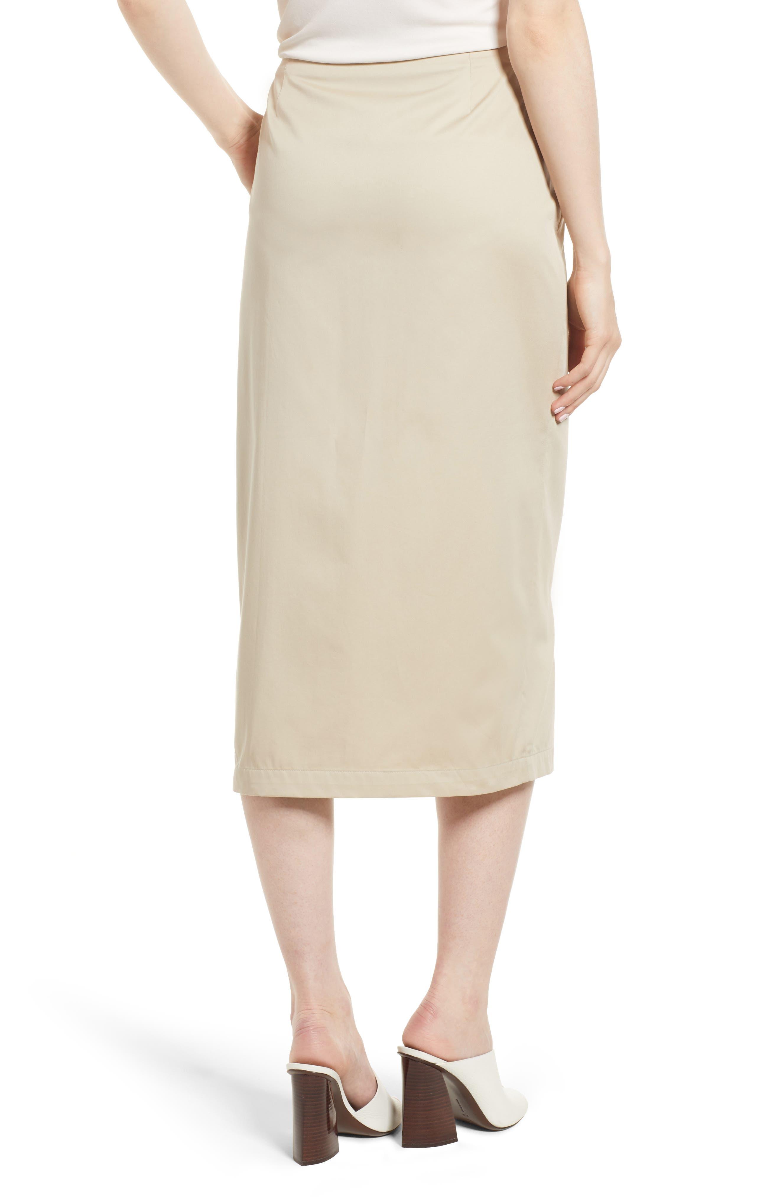 Asymmetrical Zip Ruffle Midi Skirt,                             Alternate thumbnail 2, color,                             Tan Oxford