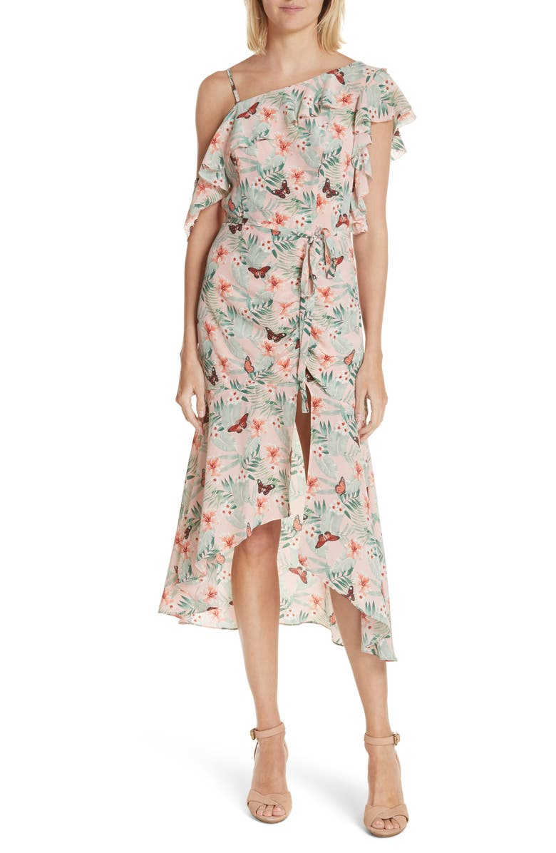 Jamima Mix Shoulder Floral Silk Dress