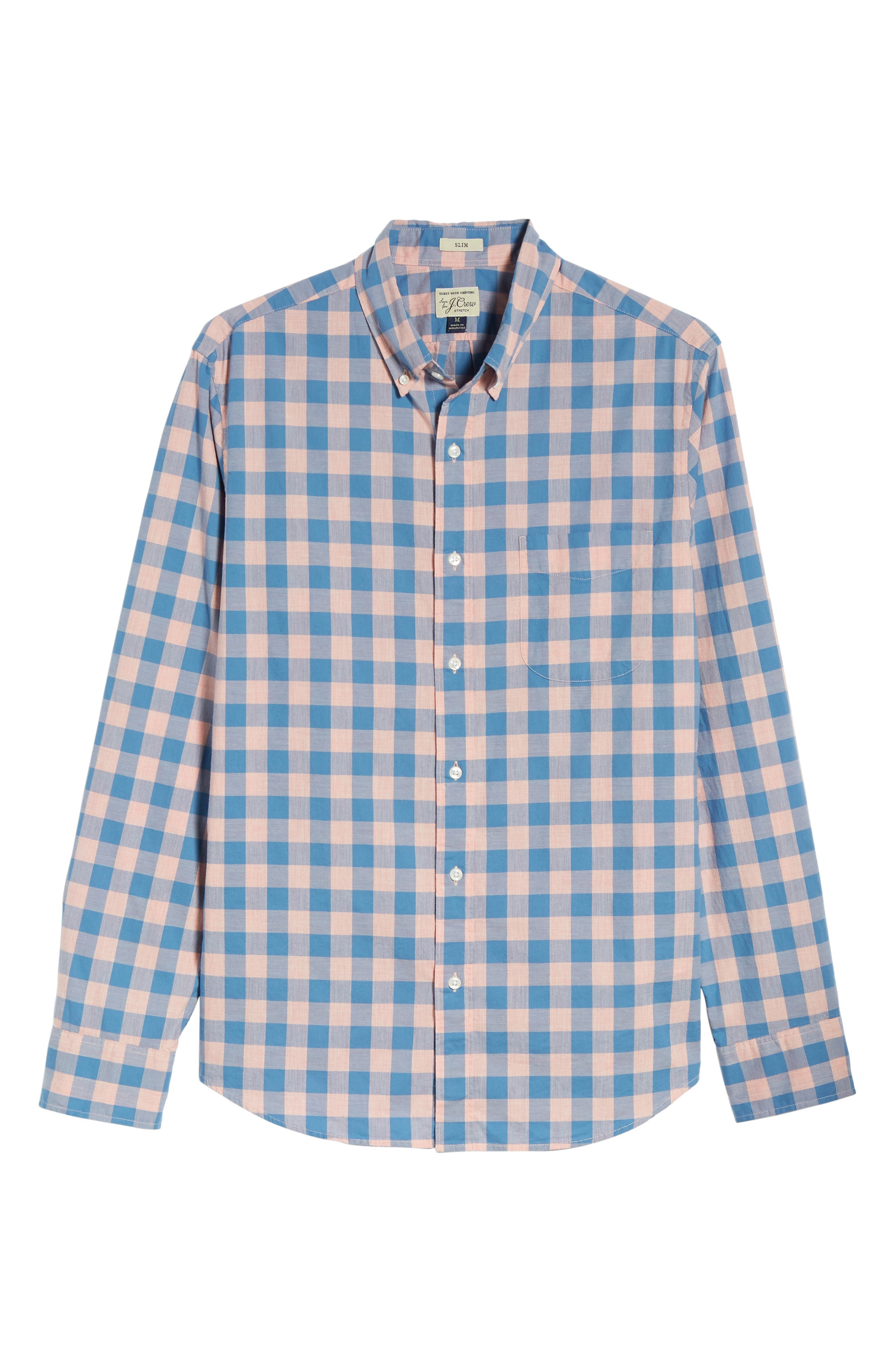 Slim Fit Stretch Secret Wash Gingham Sport Shirt,                             Alternate thumbnail 3, color,                             Heather Peony