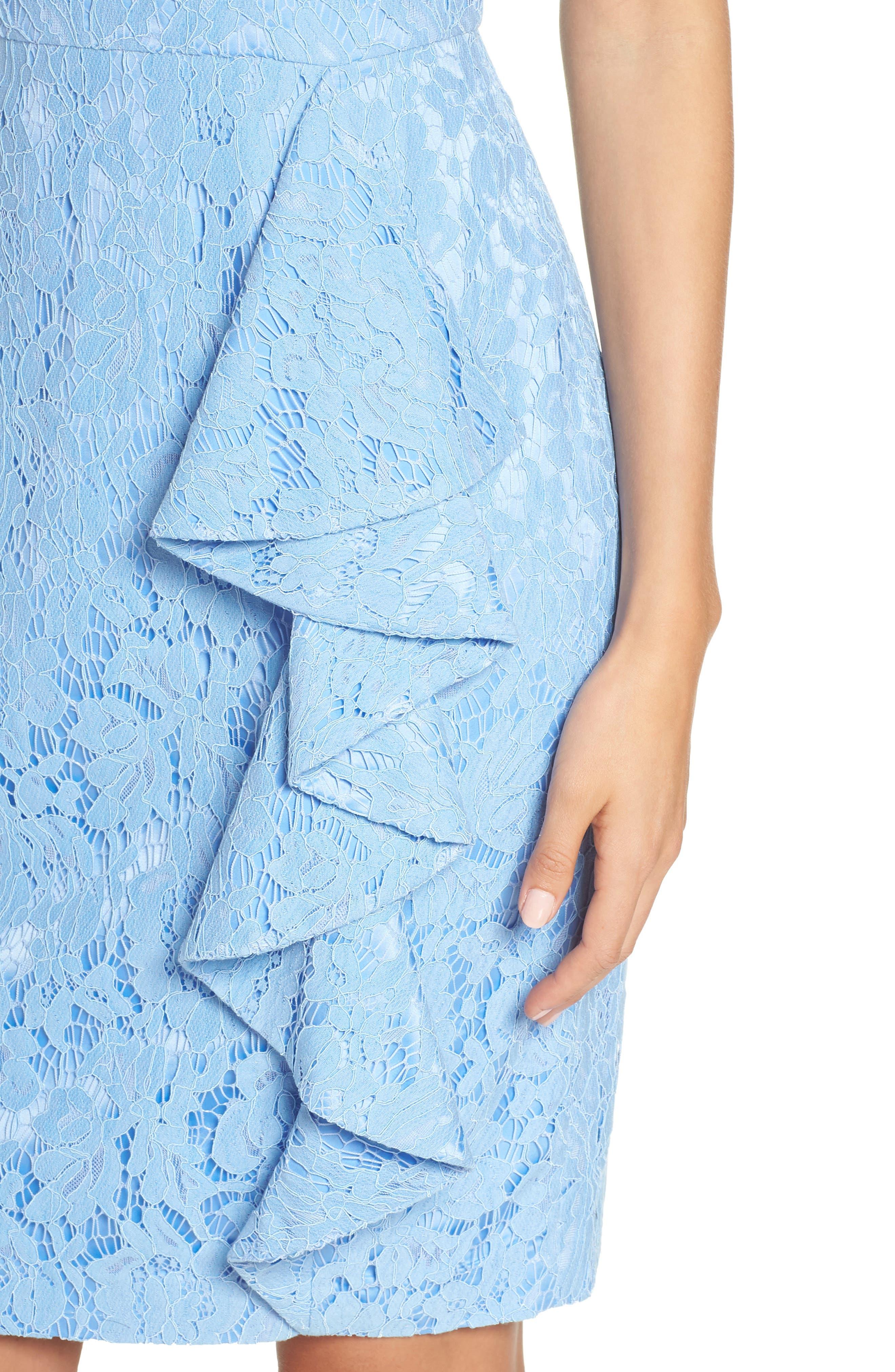 Sleeveless Ruffle Lace Sheath Dress,                             Alternate thumbnail 4, color,                             Blue