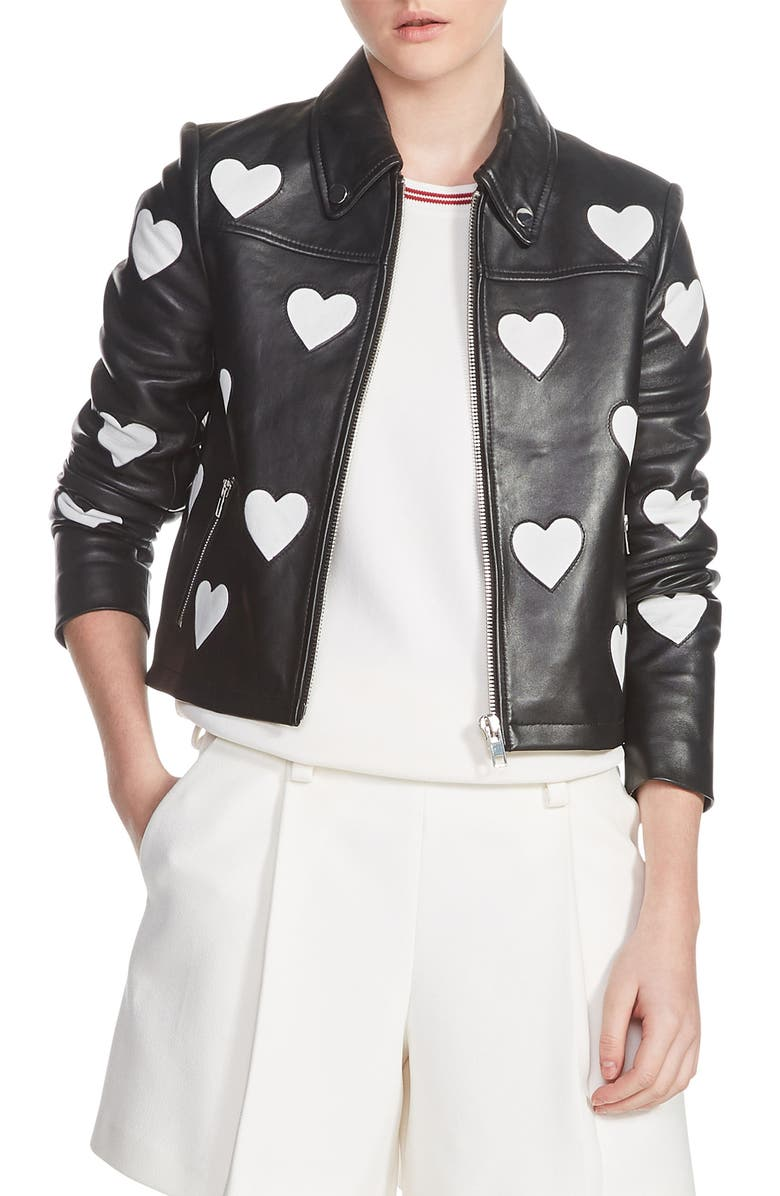 Heart Inset Leather Jacket
