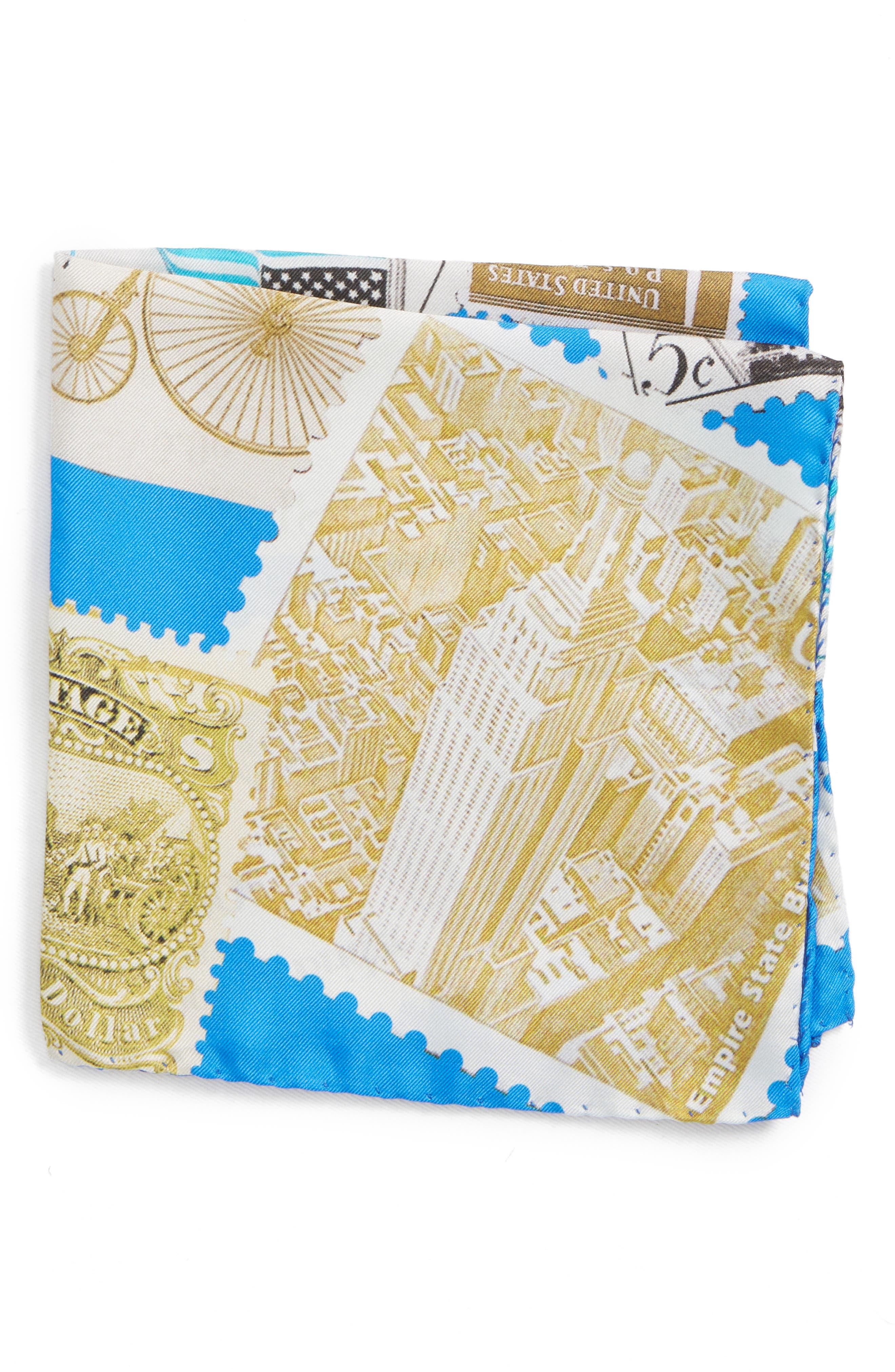 New York Stamp Silk Pocket Square,                         Main,                         color, Blue
