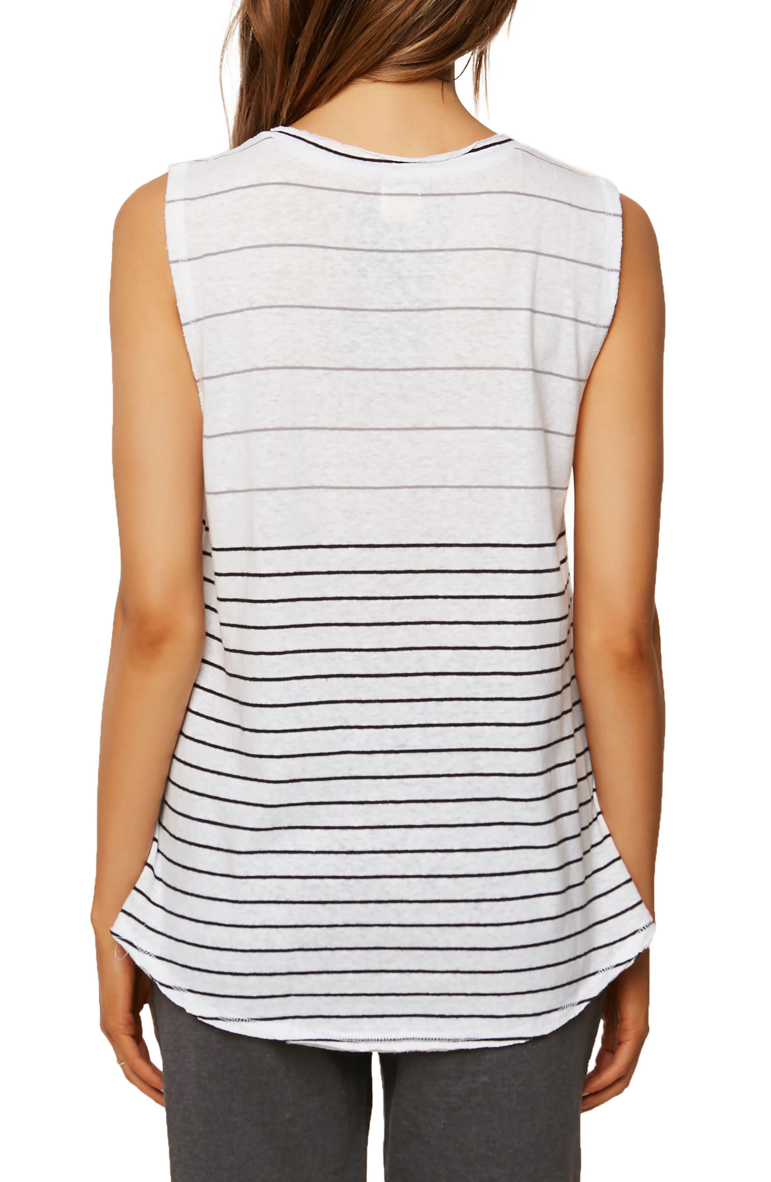 Ricki Stripe Cotton & Linen Tank,                             Alternate thumbnail 2, color,                             White