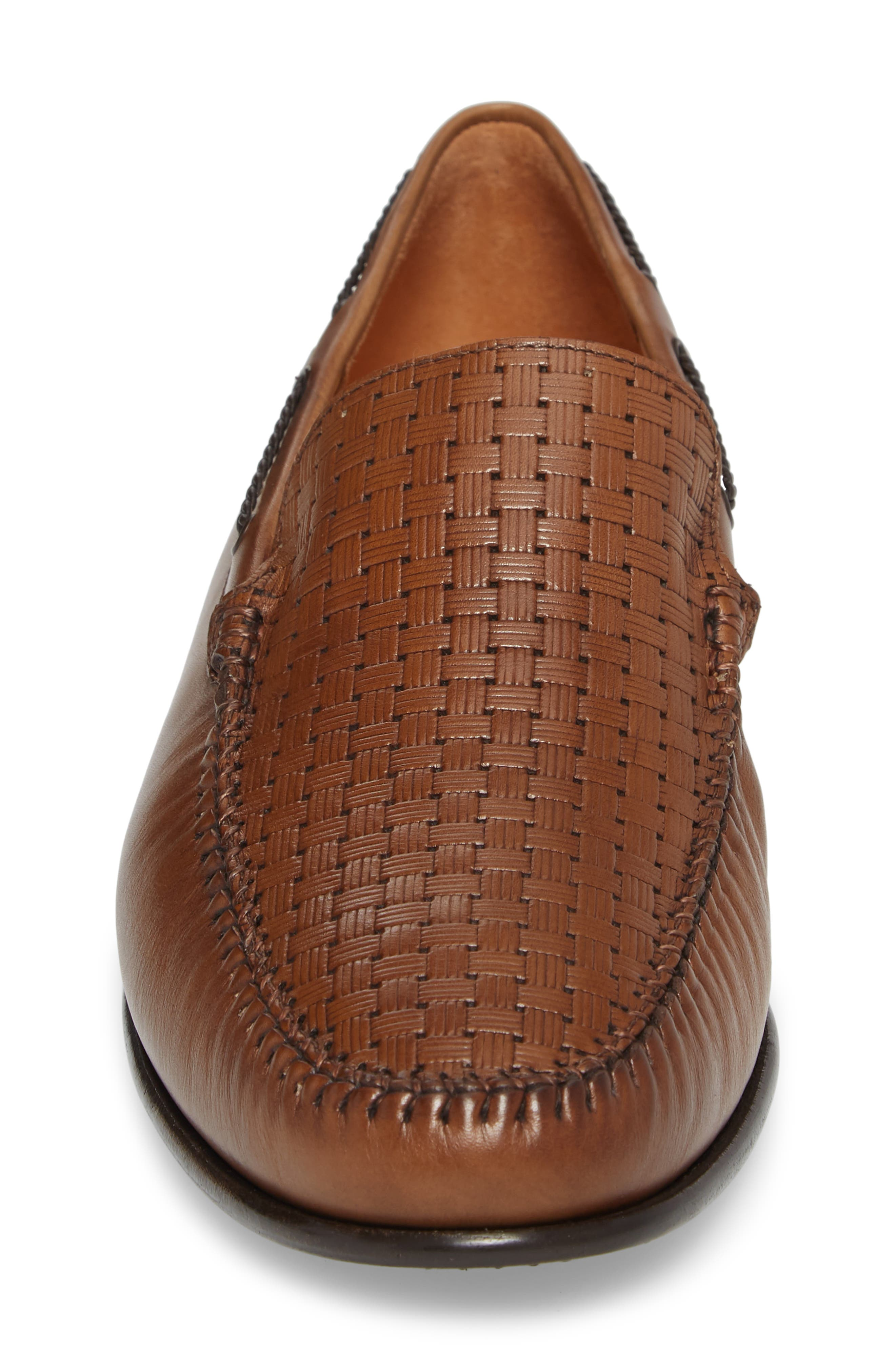 Jano Embossed Moc-Toe Loafer,                             Alternate thumbnail 4, color,                             Cognac Leather