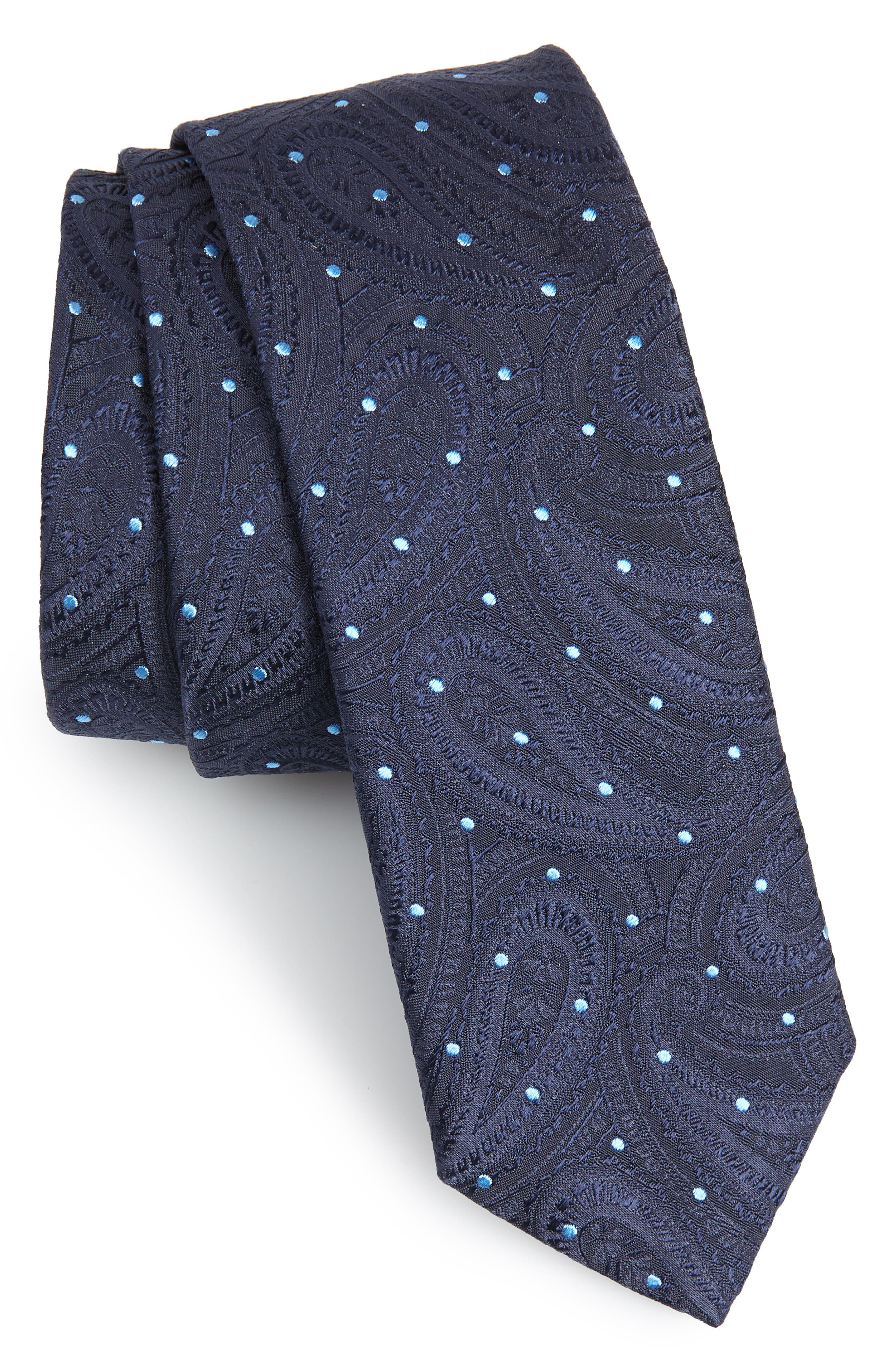 Paisley Silk Skinny Tie,                         Main,                         color, Navy
