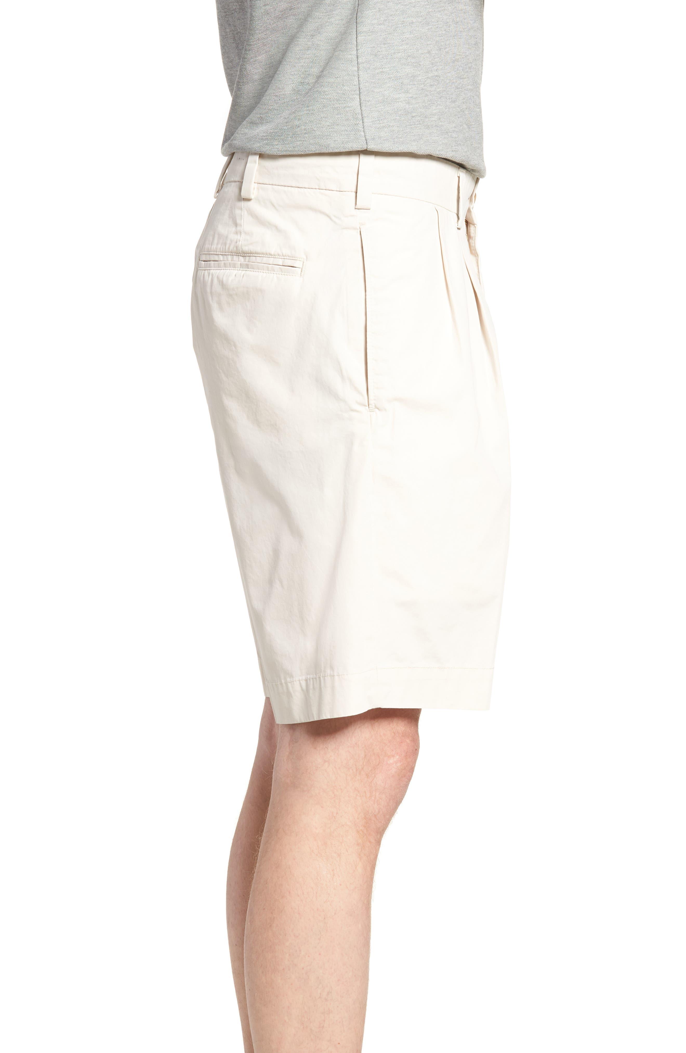 M2 Classic Fit Pleated Tropical Cotton Poplin Shorts,                             Alternate thumbnail 3, color,                             Sand