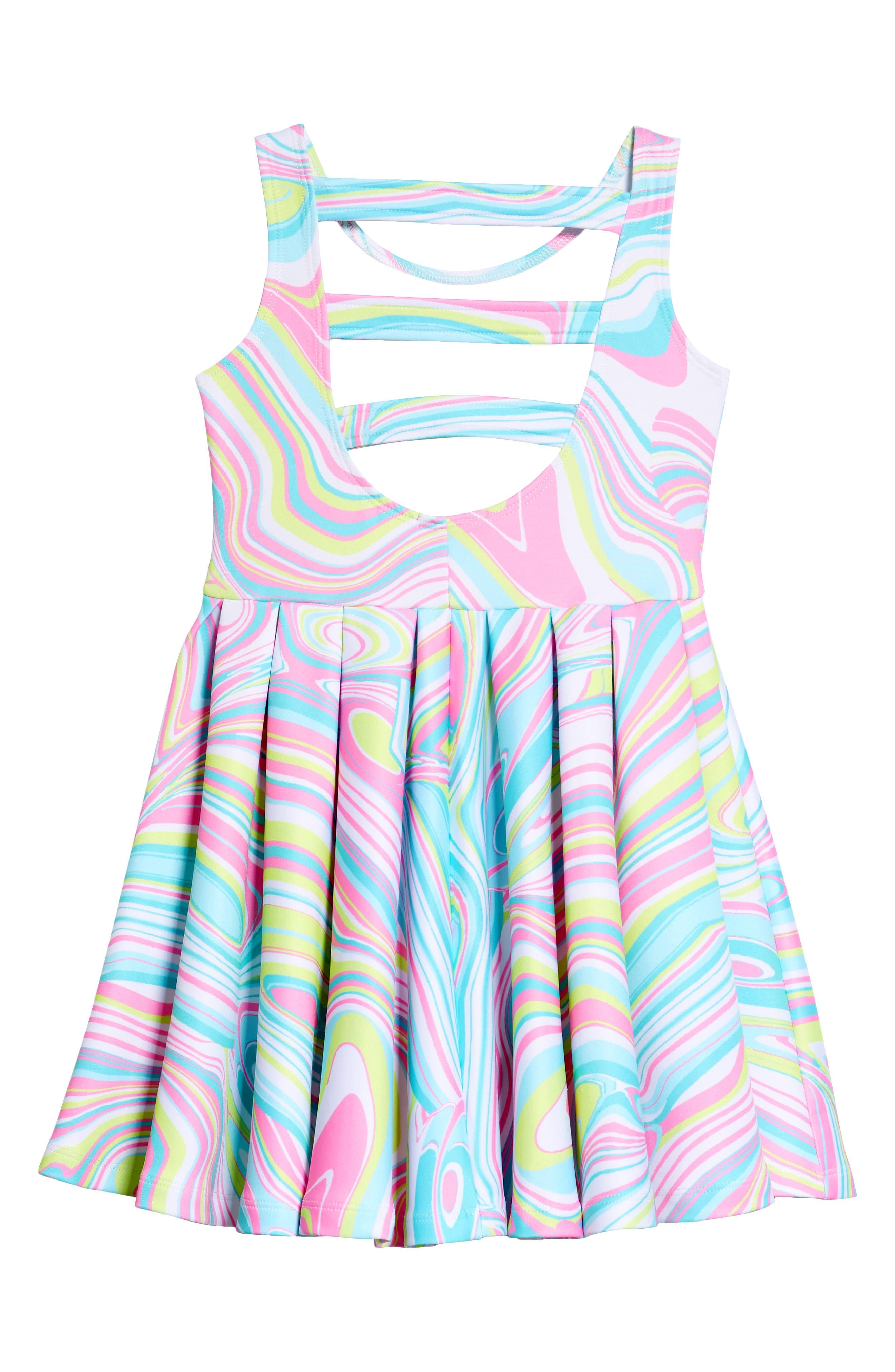 Scuba Skater Dress,                             Alternate thumbnail 2, color,                             Multi