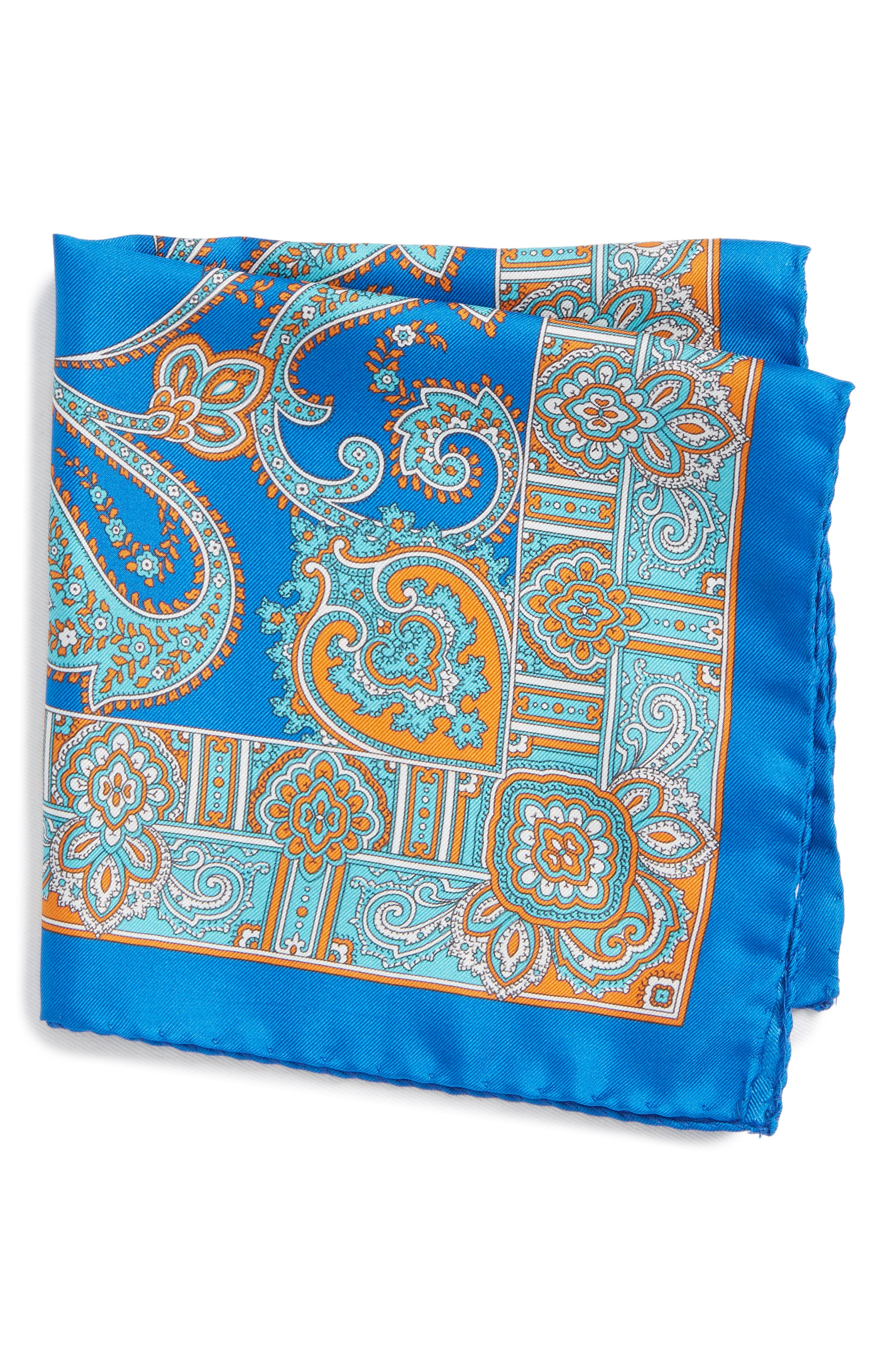 Paisley Silk Pocket Square,                         Main,                         color, Blue