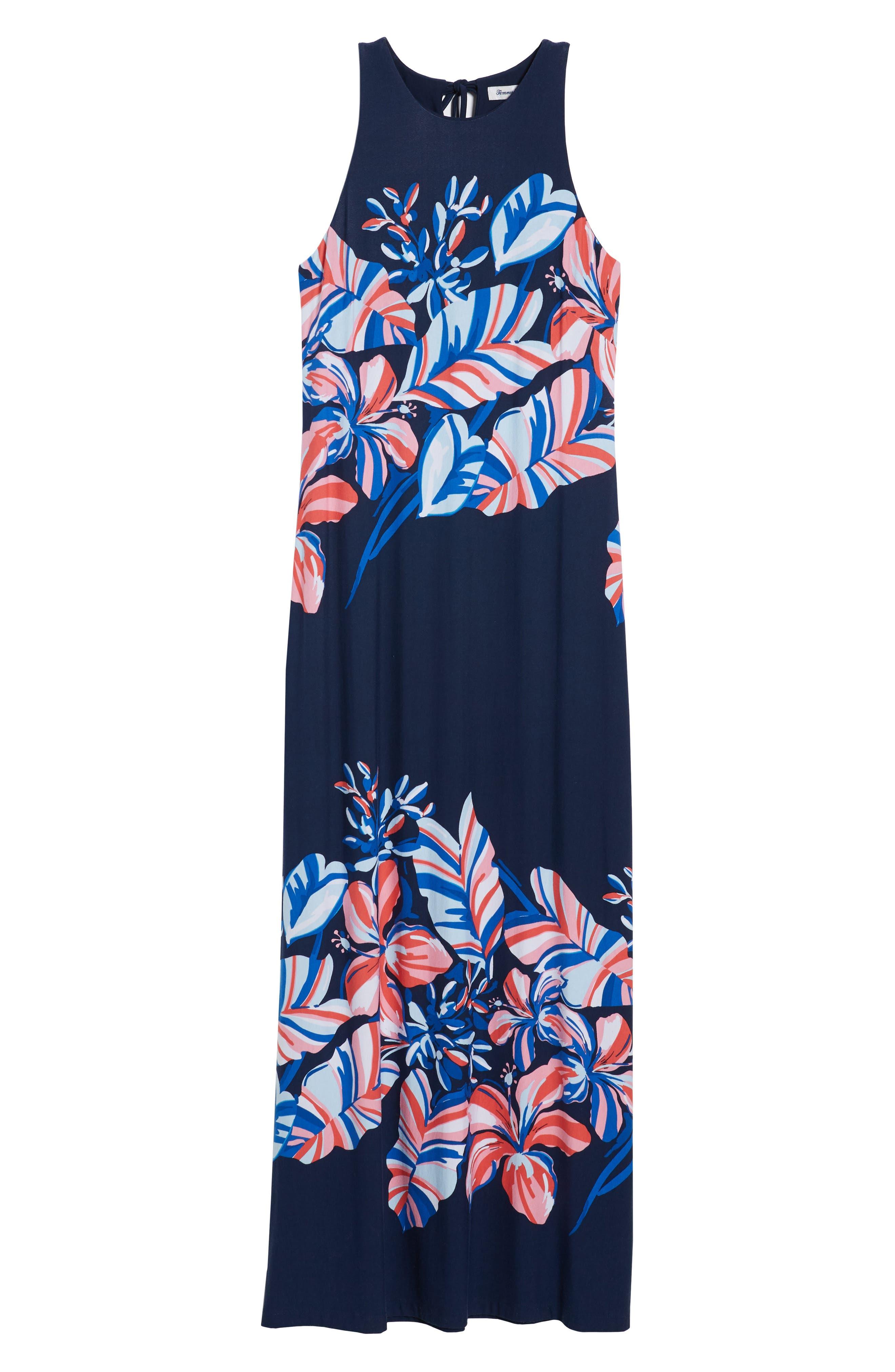 Le Tigre Floral Maxi Dress,                             Alternate thumbnail 7, color,                             Ocean Deep