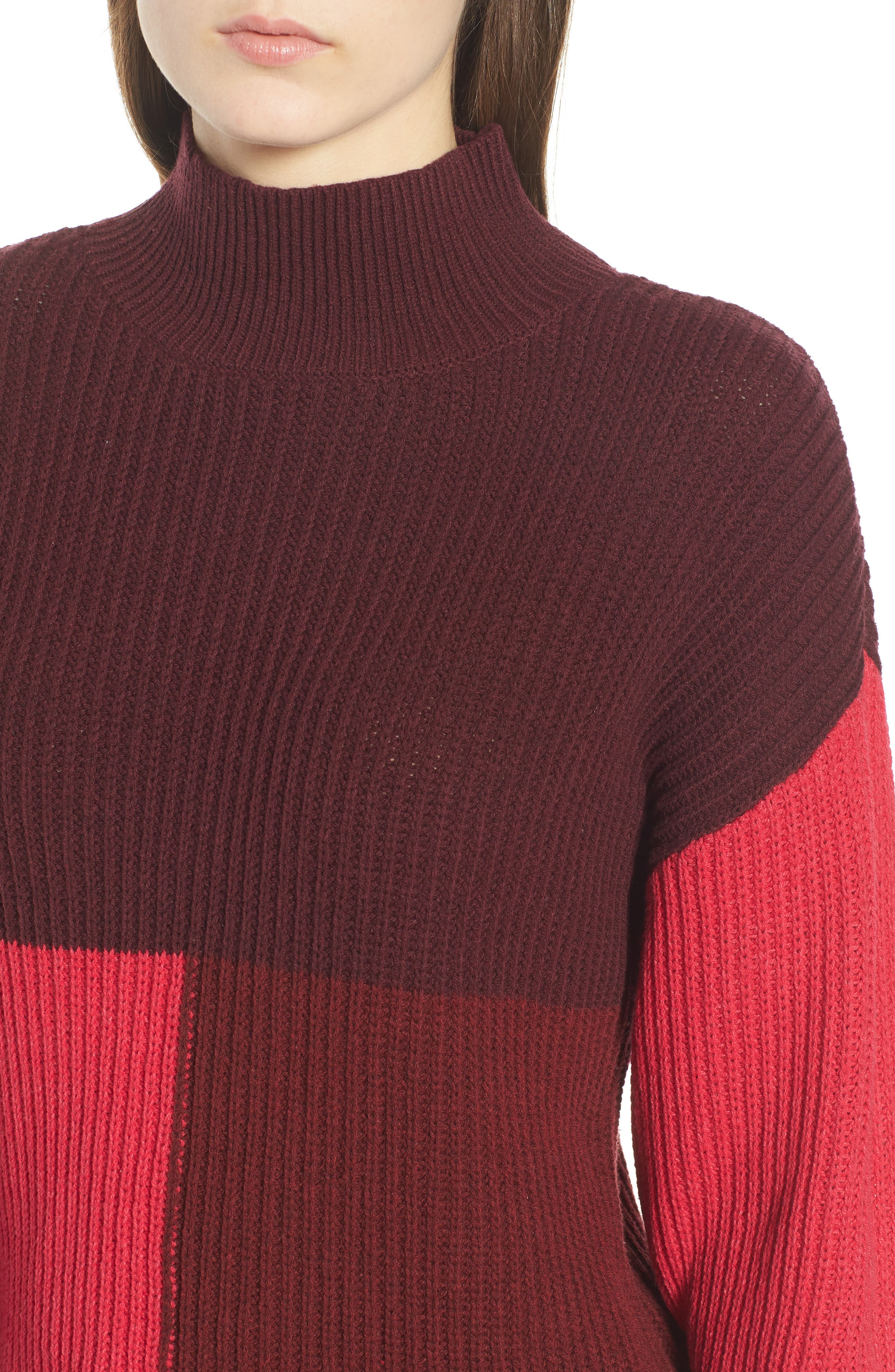 Mock Neck Colorblock Sweater,                             Alternate thumbnail 4, color,                             Red Rumba Colorblock