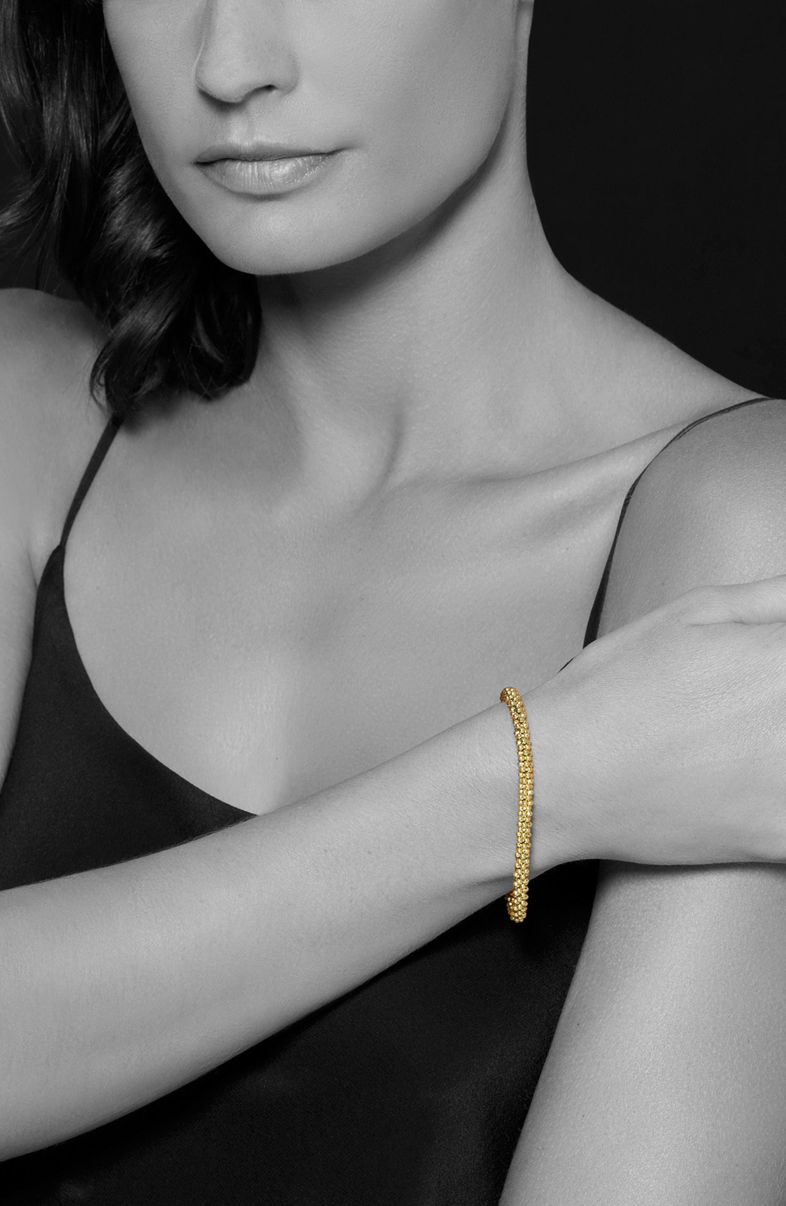 Caviar Gold Rope Bracelet,                             Alternate thumbnail 2, color,                             Gold