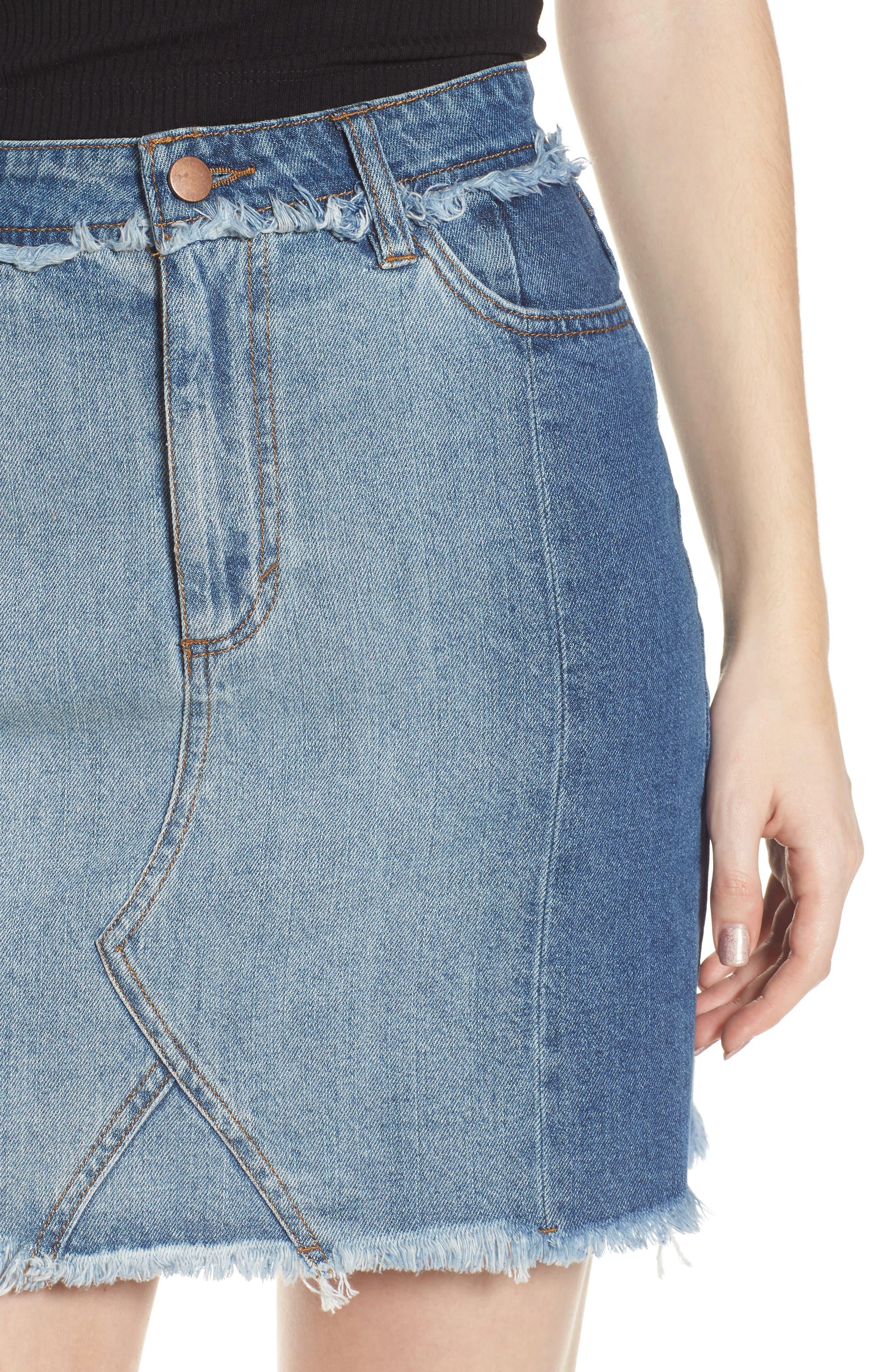 Color Block Denim Skirt,                             Alternate thumbnail 4, color,                             Med Wash