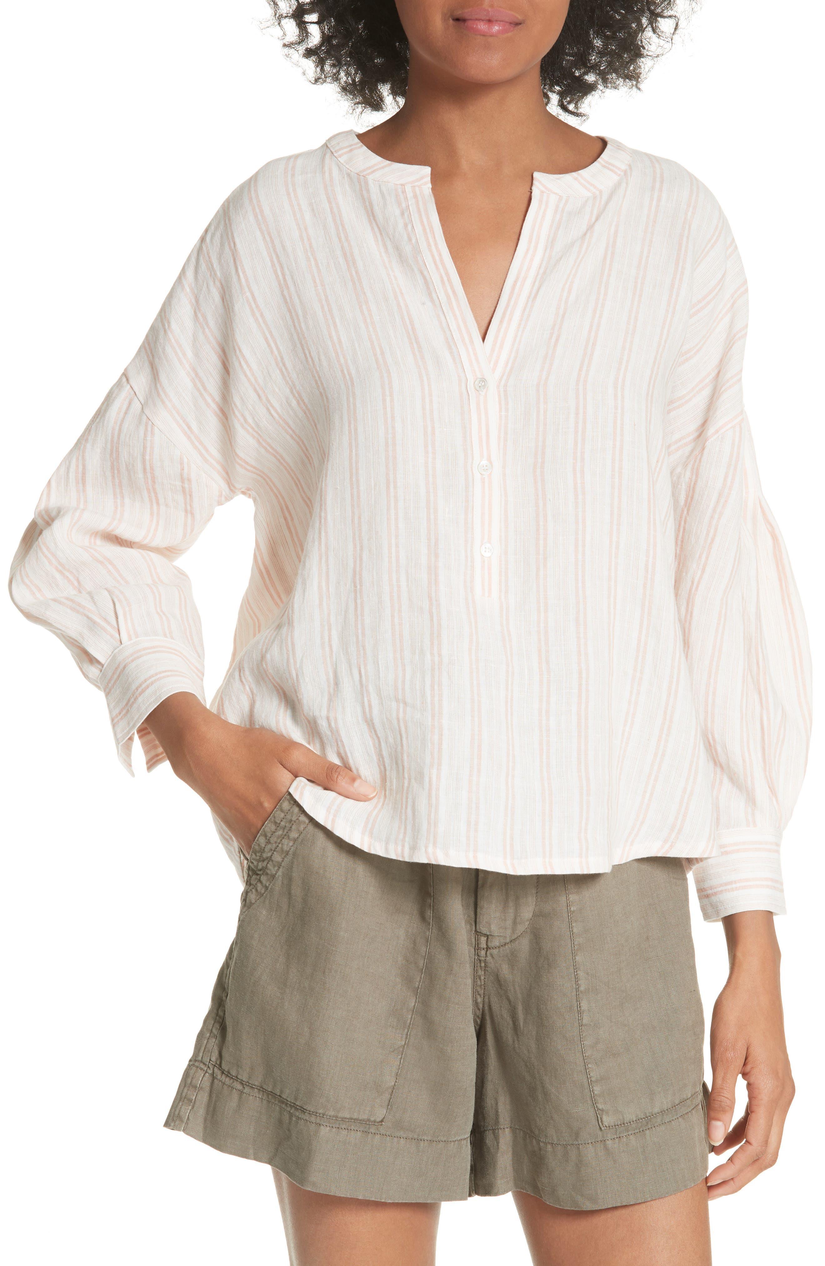 Joie Bekette Collarless Stripe Linen Blouse