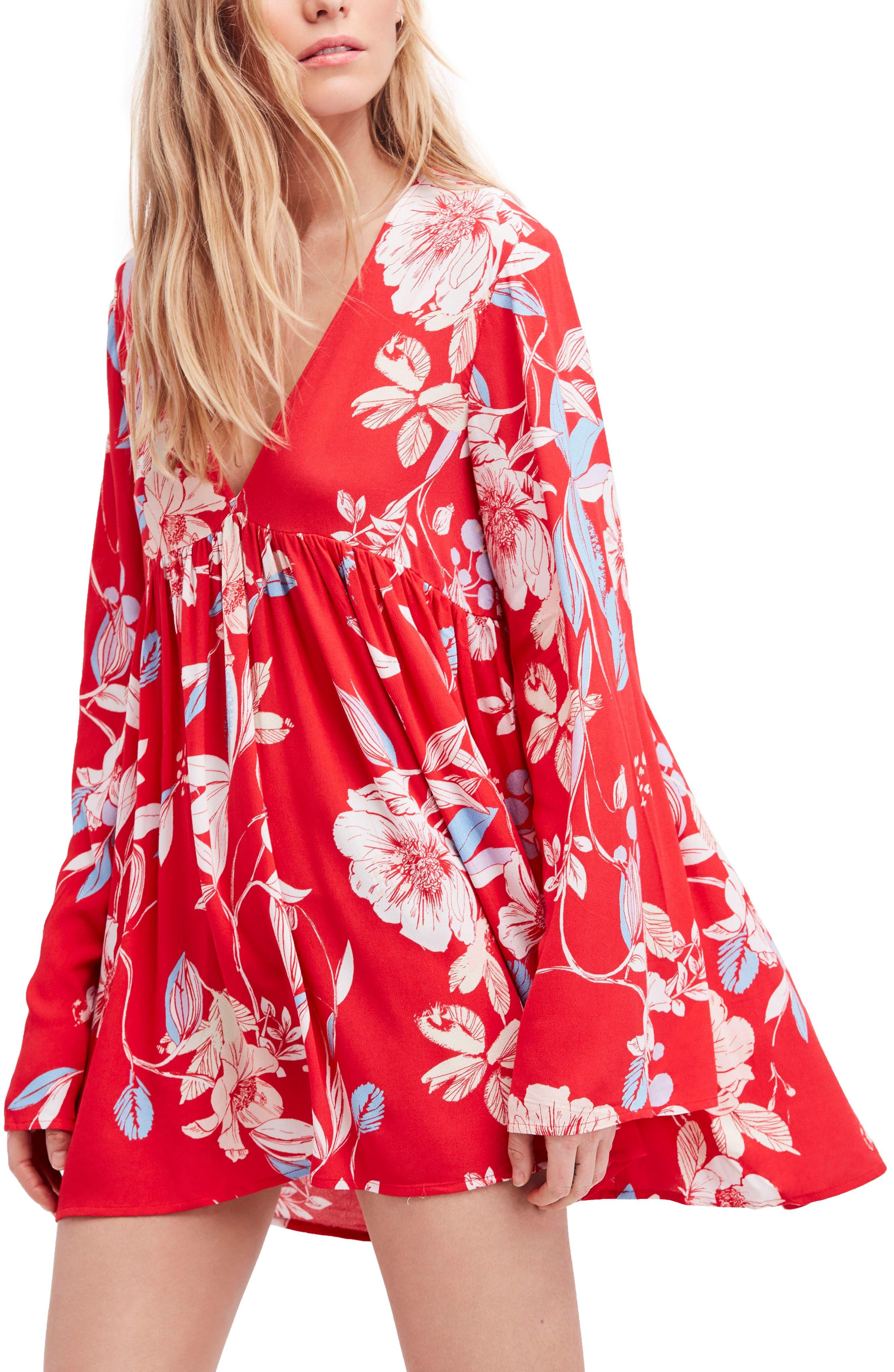 Bella Print Tunic,                             Main thumbnail 1, color,                             Red