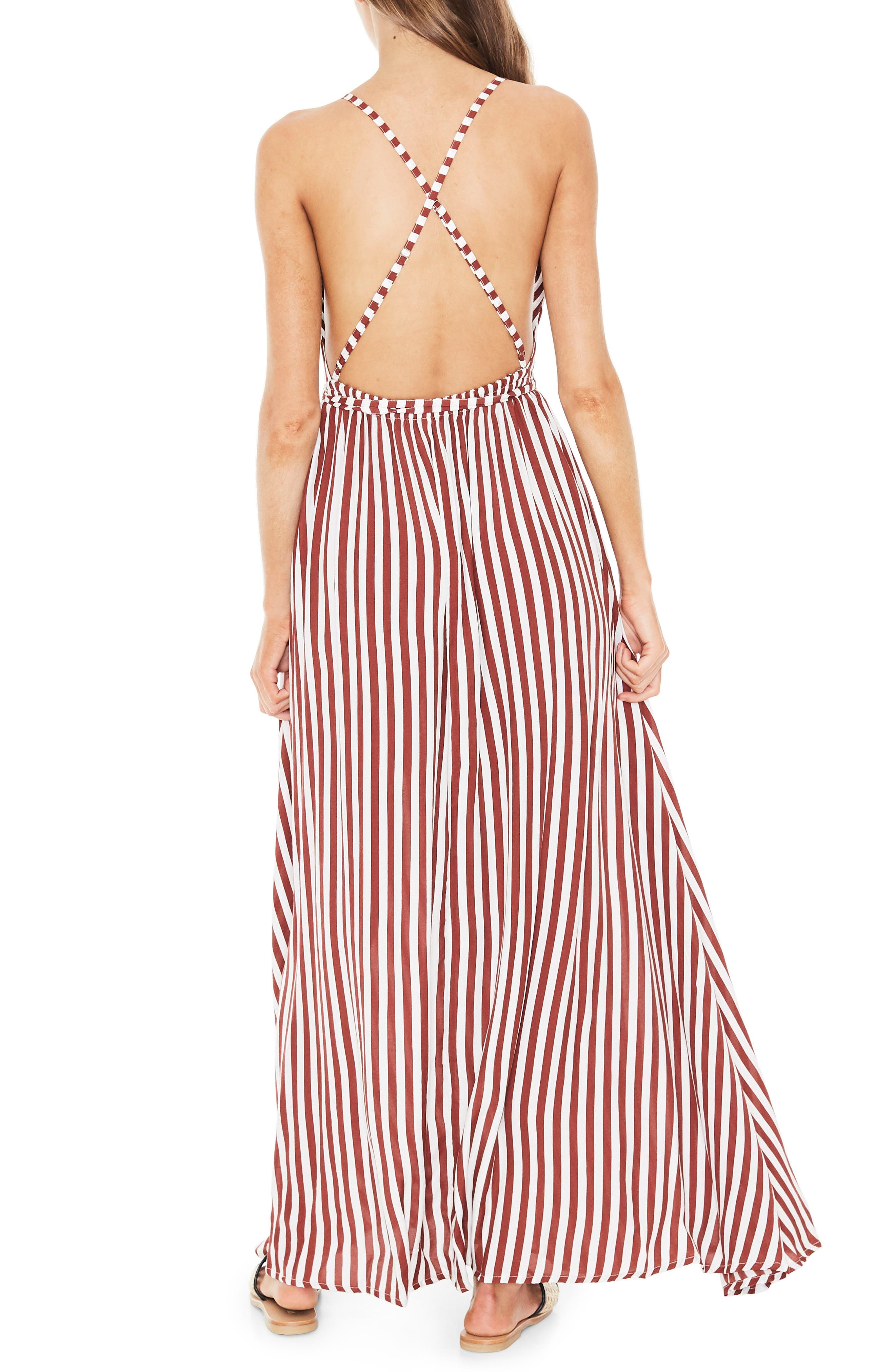 Santa Rosa Maxi Dress,                             Alternate thumbnail 2, color,                             Zeus Stripe Prints - Maroon