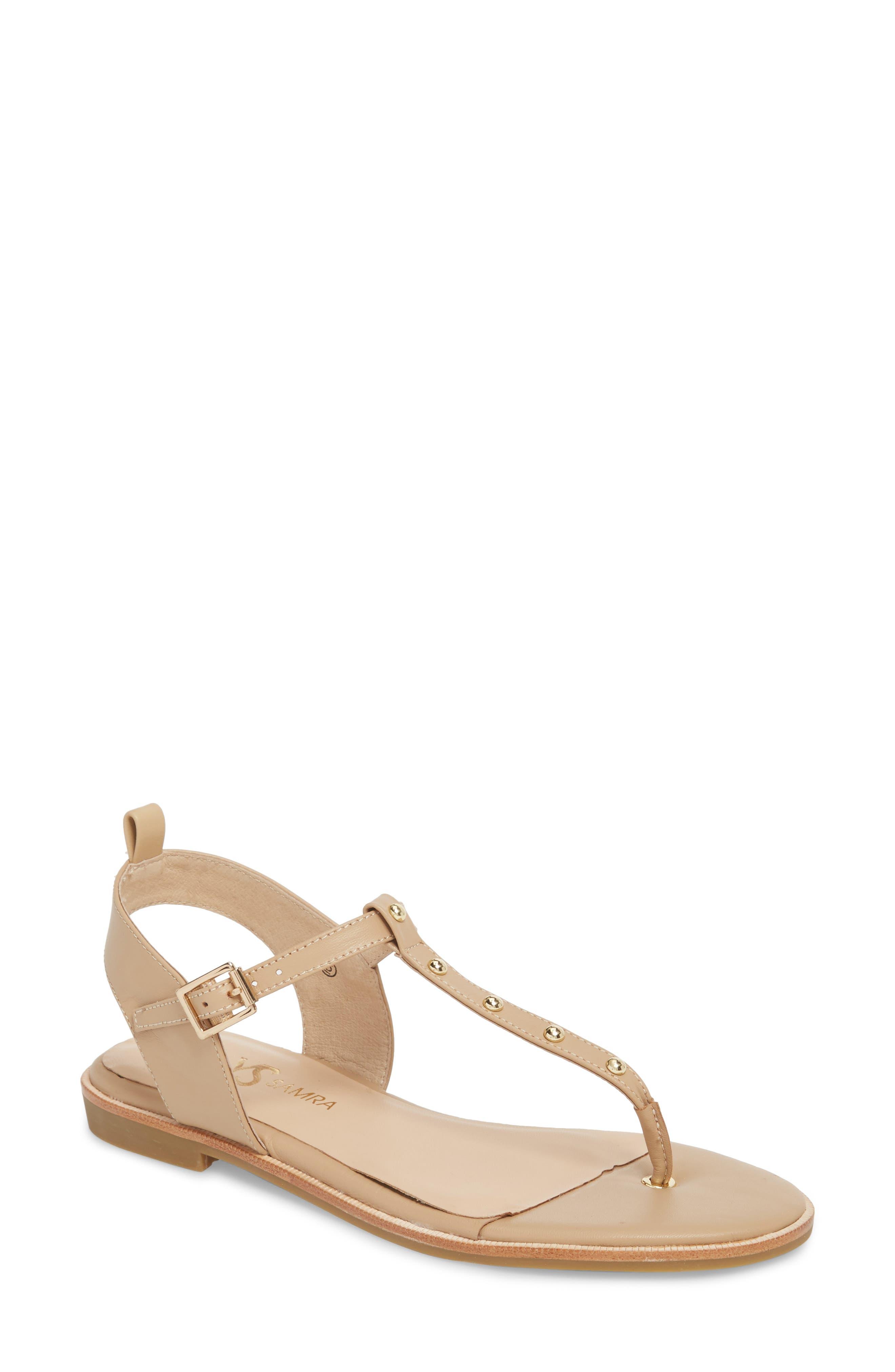 Calliste Sandal,                             Main thumbnail 1, color,                             Camel/ Gold Studs