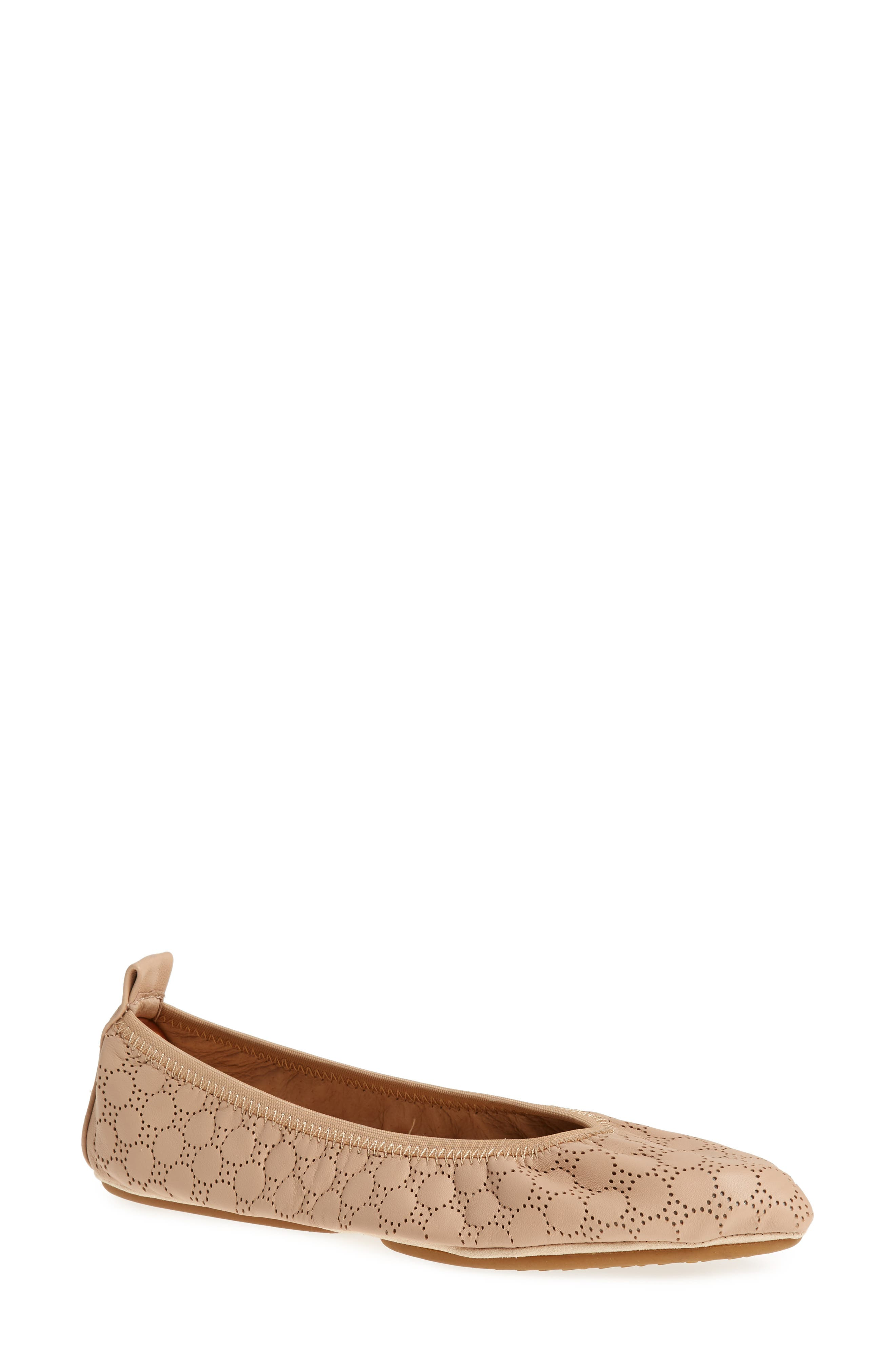 Vince Foldable Ballet Flat,                         Main,                         color, Nude Circle Perforated Leather
