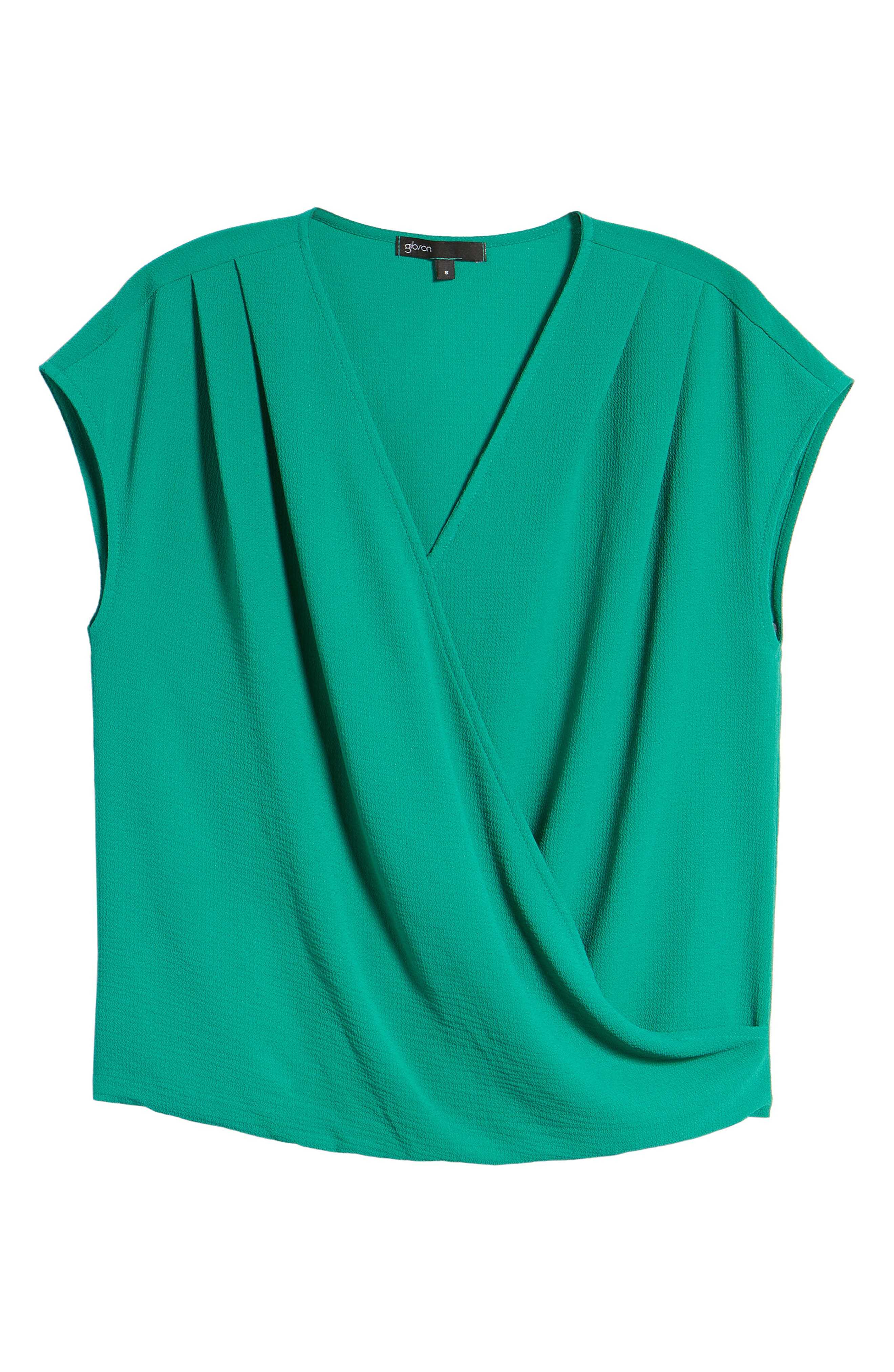 Draped Faux Wrap Top,                             Alternate thumbnail 7, color,                             Green Lake