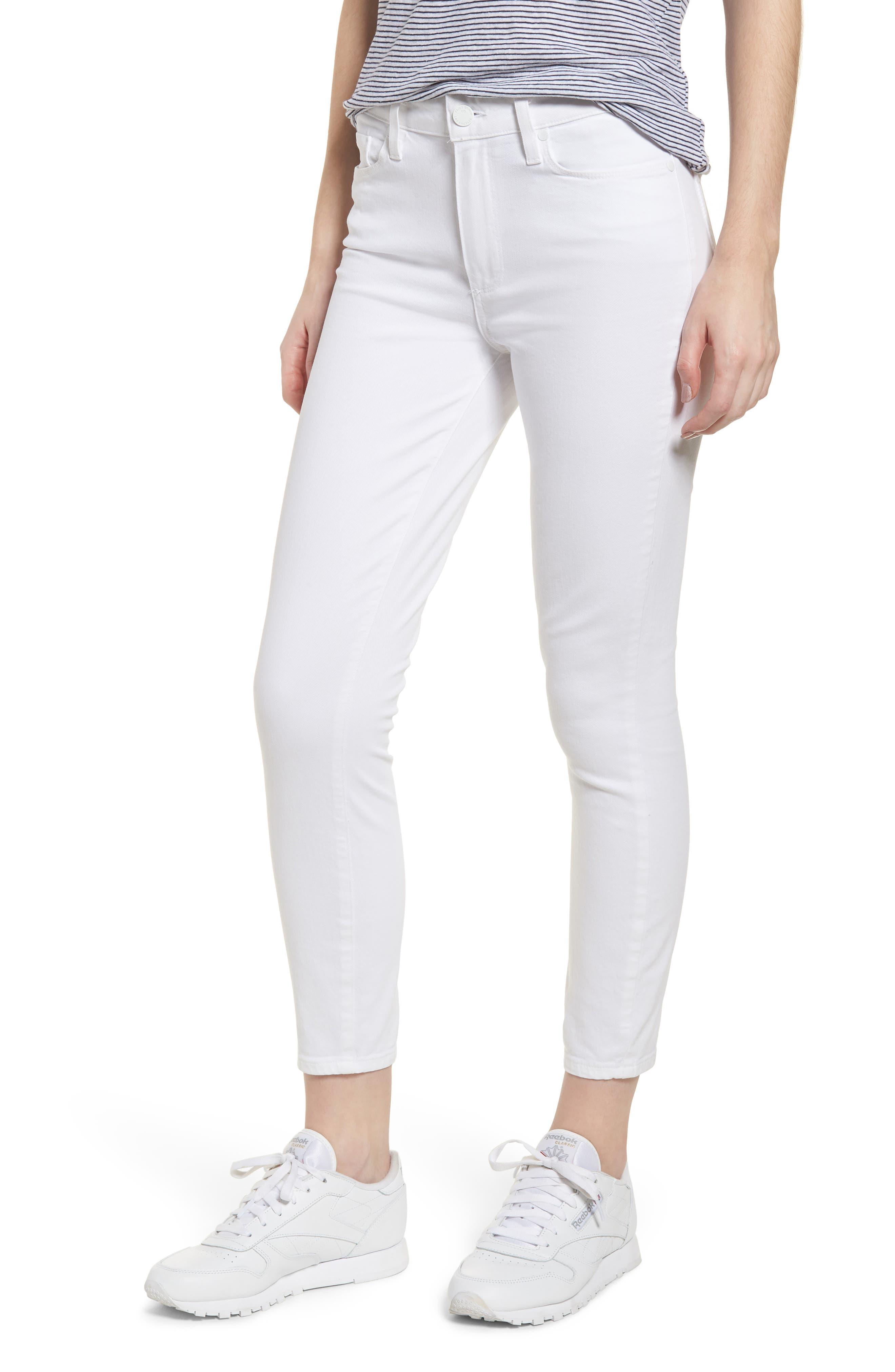 PAIGE Hoxton High Waist Crop Skinny Jeans (Crisp White)