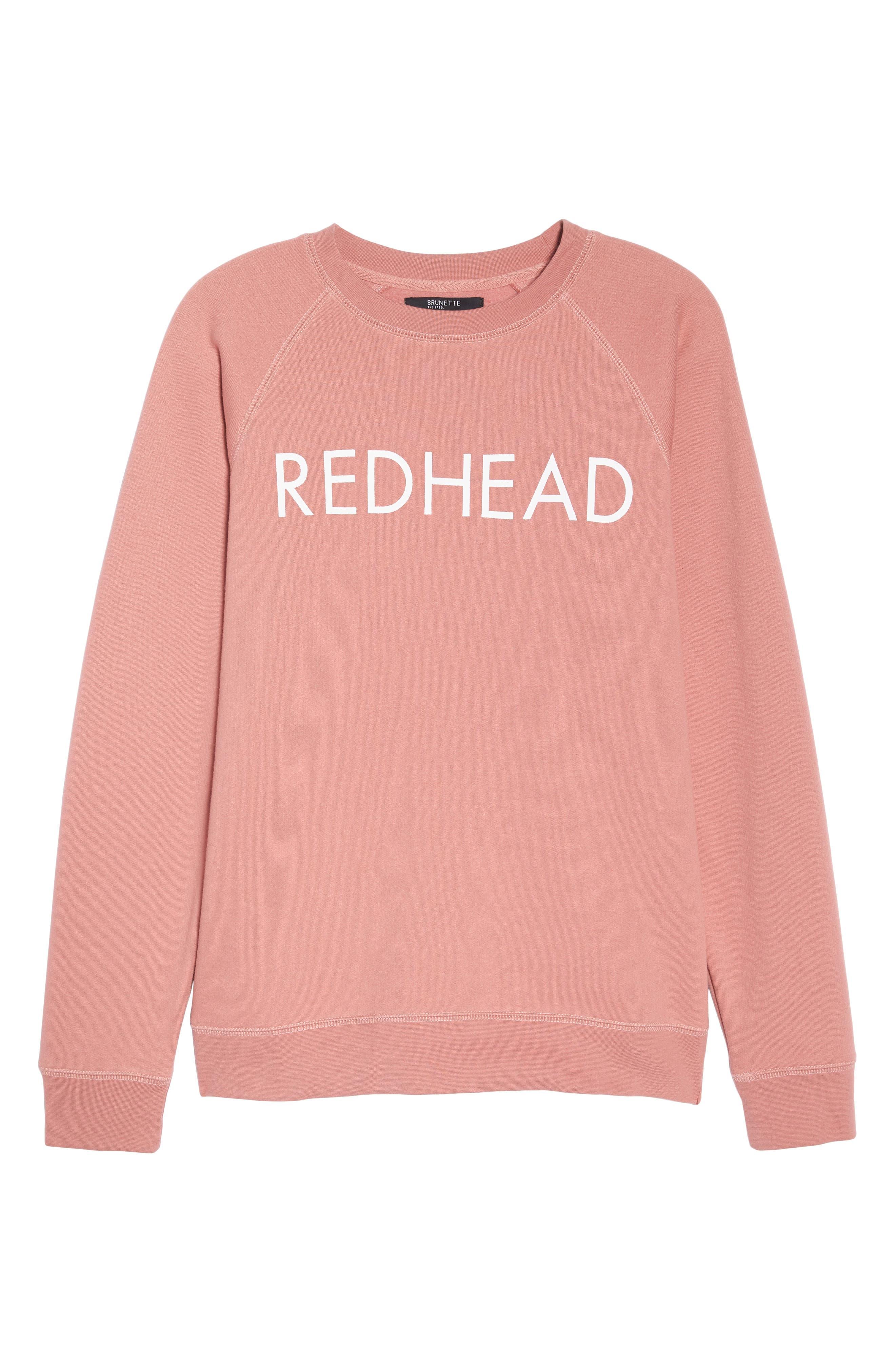 Redhead Crewneck Sweatshirt,                             Alternate thumbnail 4, color,                             Dusty Rose