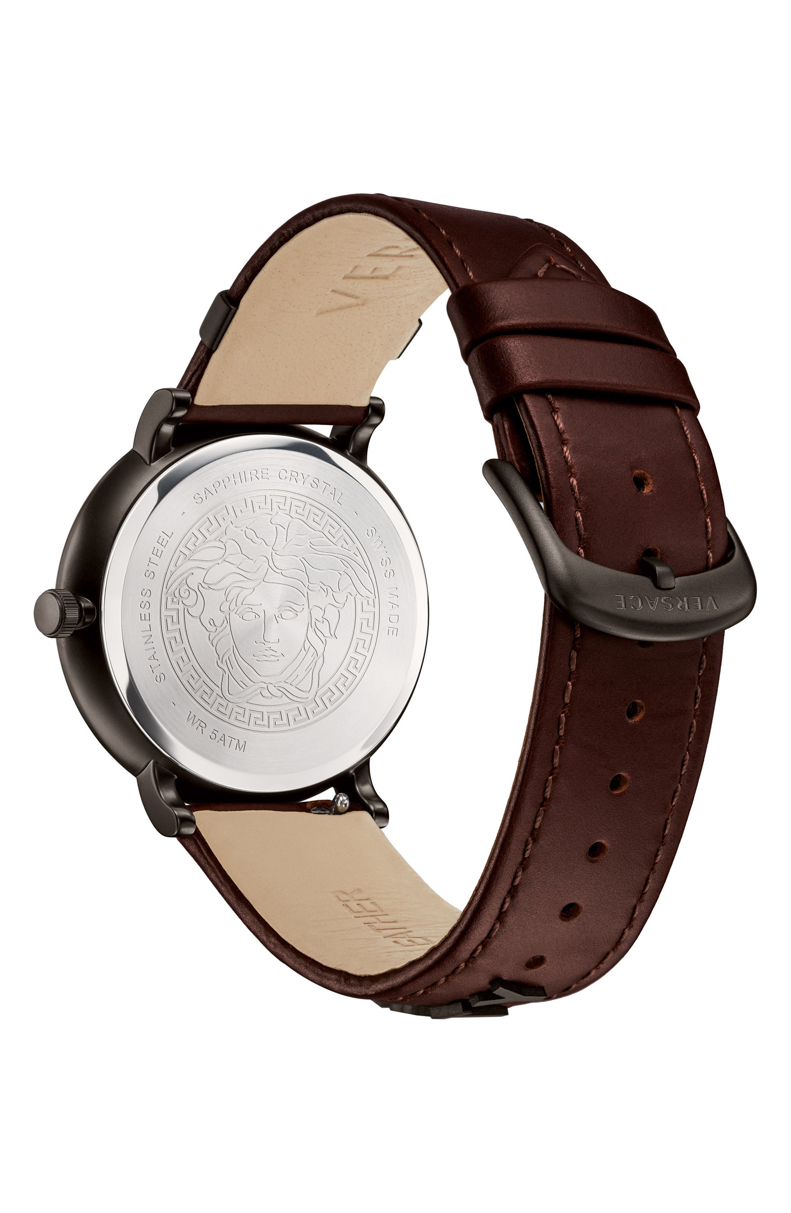 Manifesto Leather Strap Watch, 42mm,                             Alternate thumbnail 3, color,                             Brown/ Black