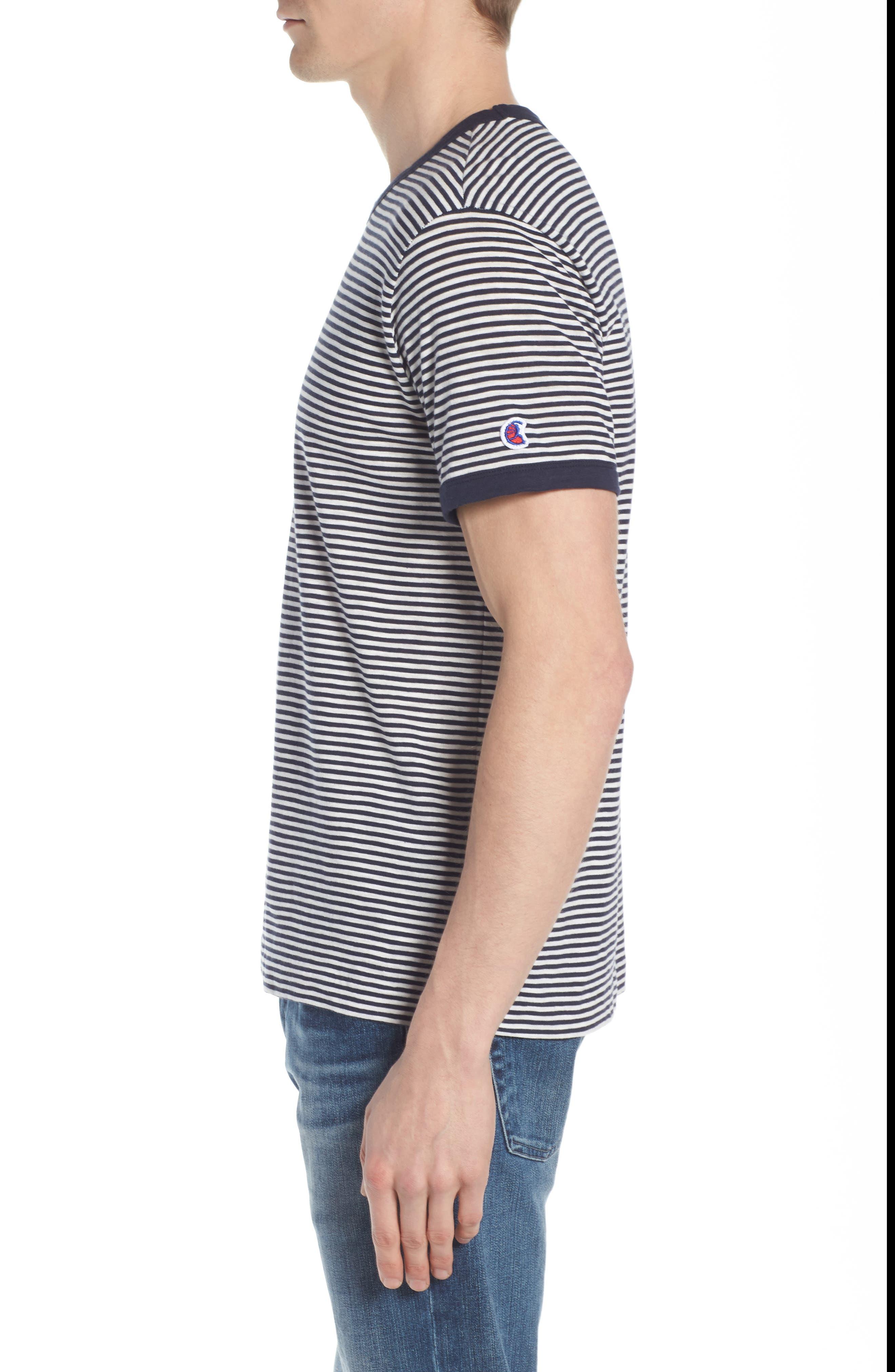 + Champion Stripe T-Shirt,                             Alternate thumbnail 3, color,                             Navy