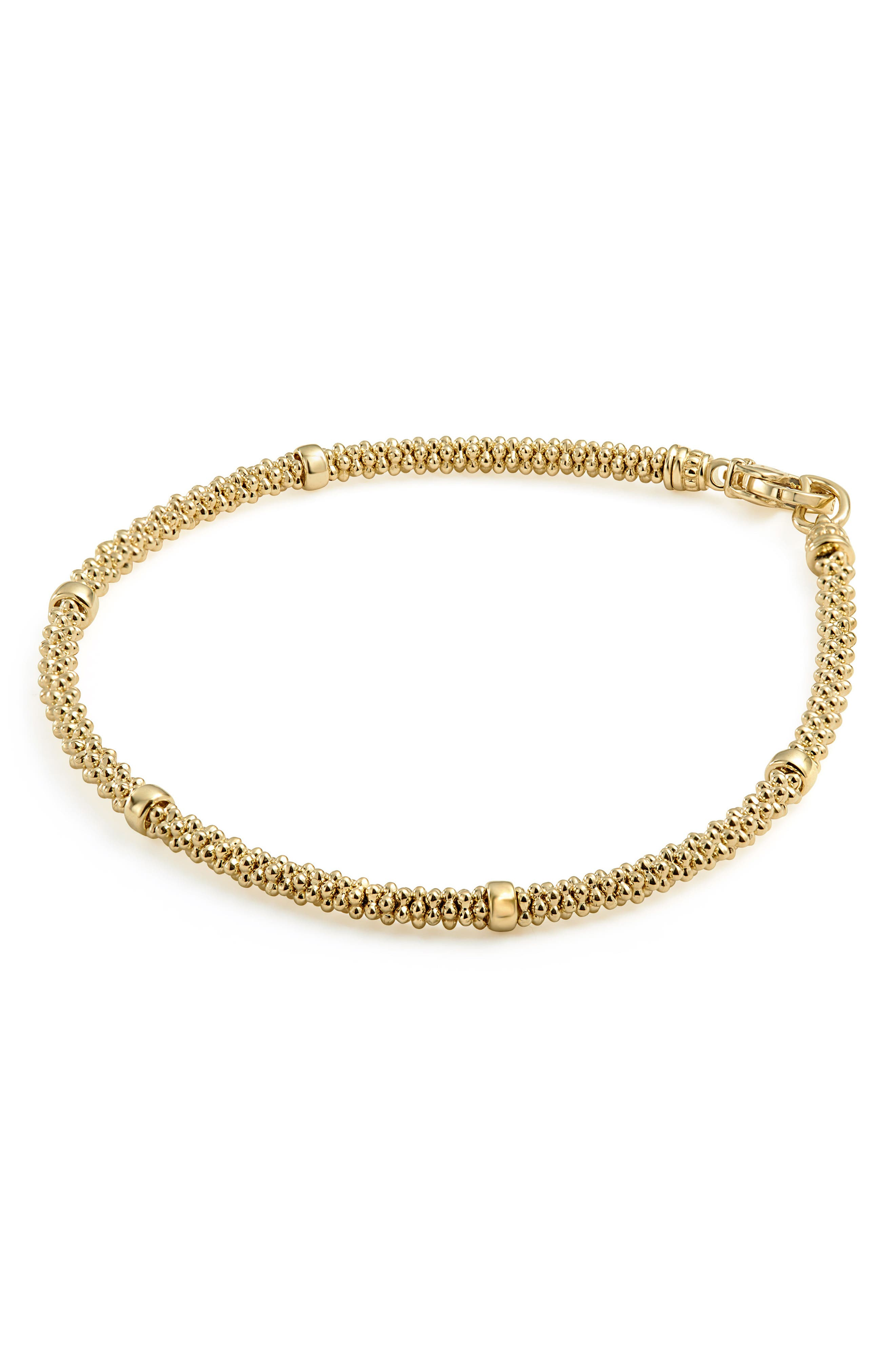 Caviar Gold Rope Bracelet,                             Alternate thumbnail 4, color,                             Gold