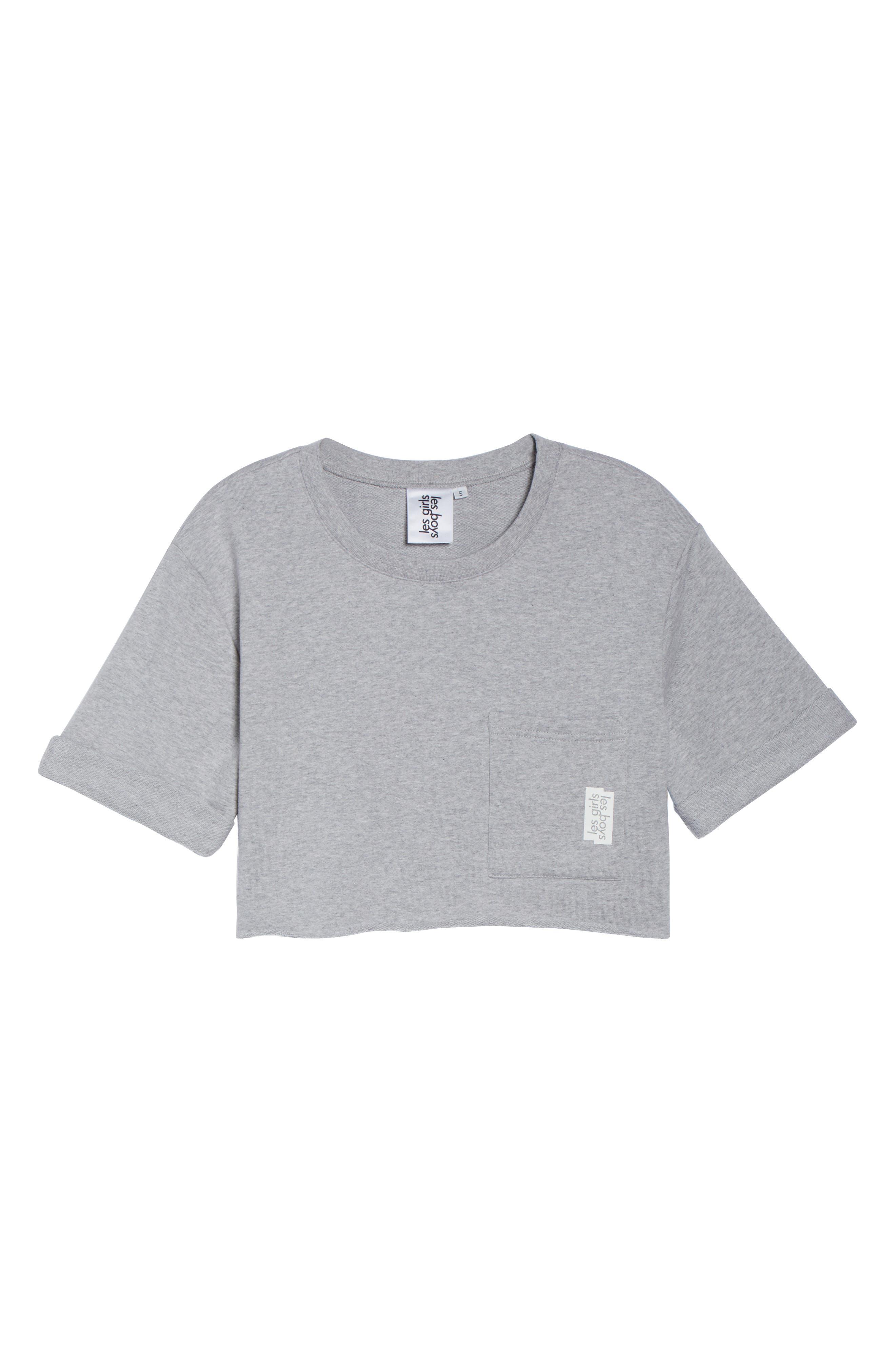 French Terry Crop Sweatshirt,                             Alternate thumbnail 5, color,                             Light Grey Marl