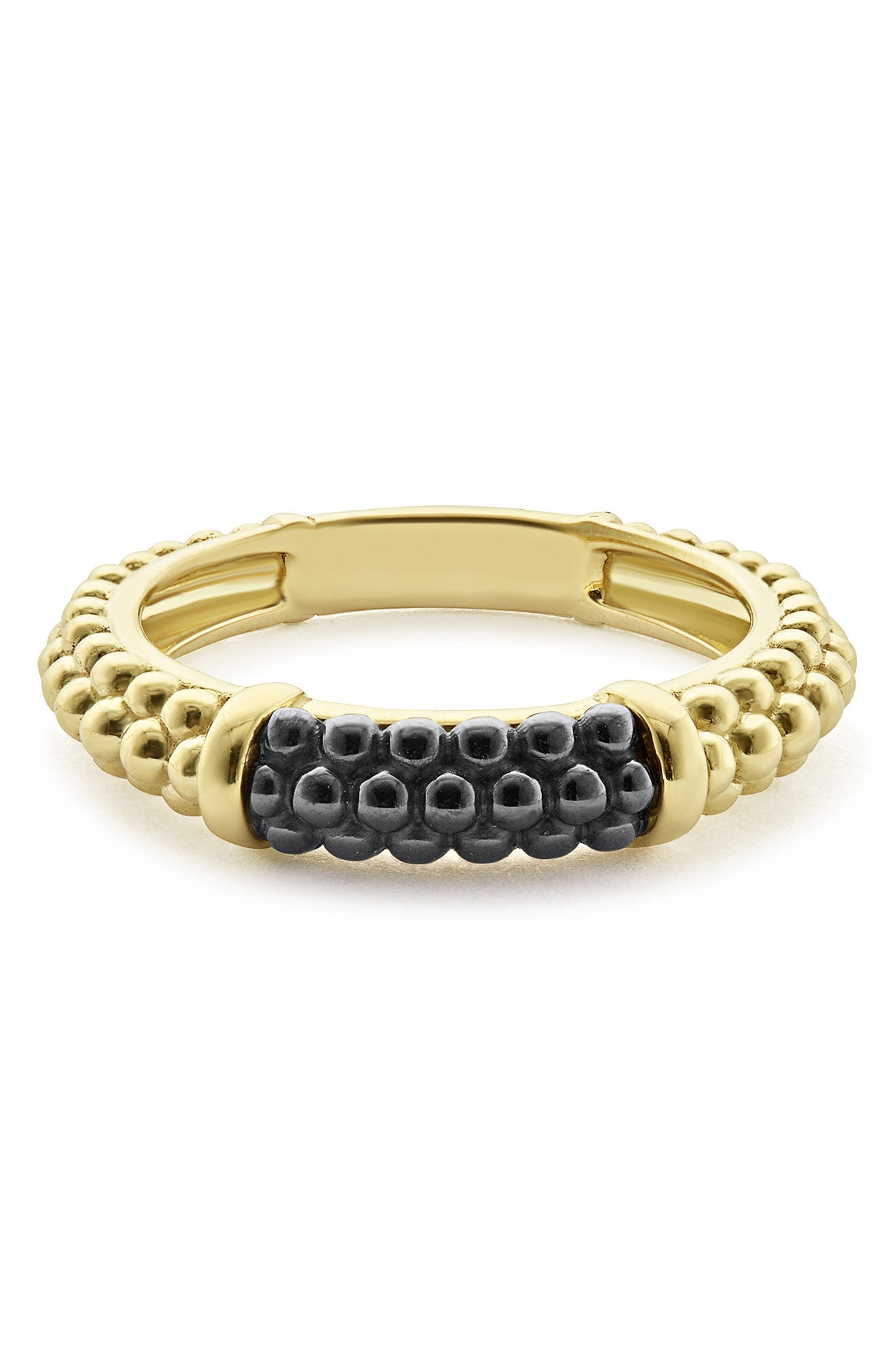 Gold & Black Caviar Stacking Ring,                             Alternate thumbnail 5, color,                             Gold