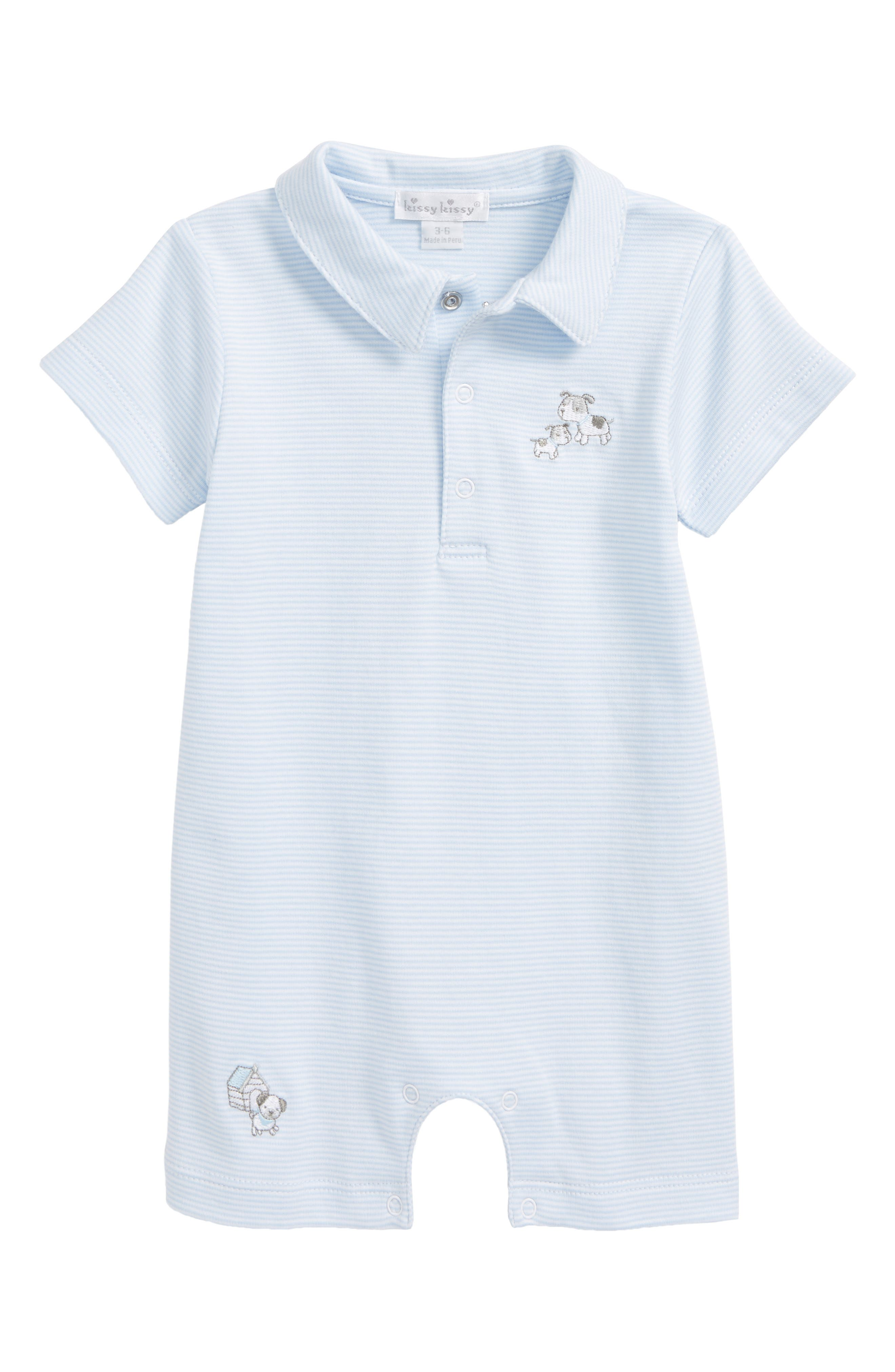 Dog Day Out Polo Romper,                         Main,                         color, Light Blue