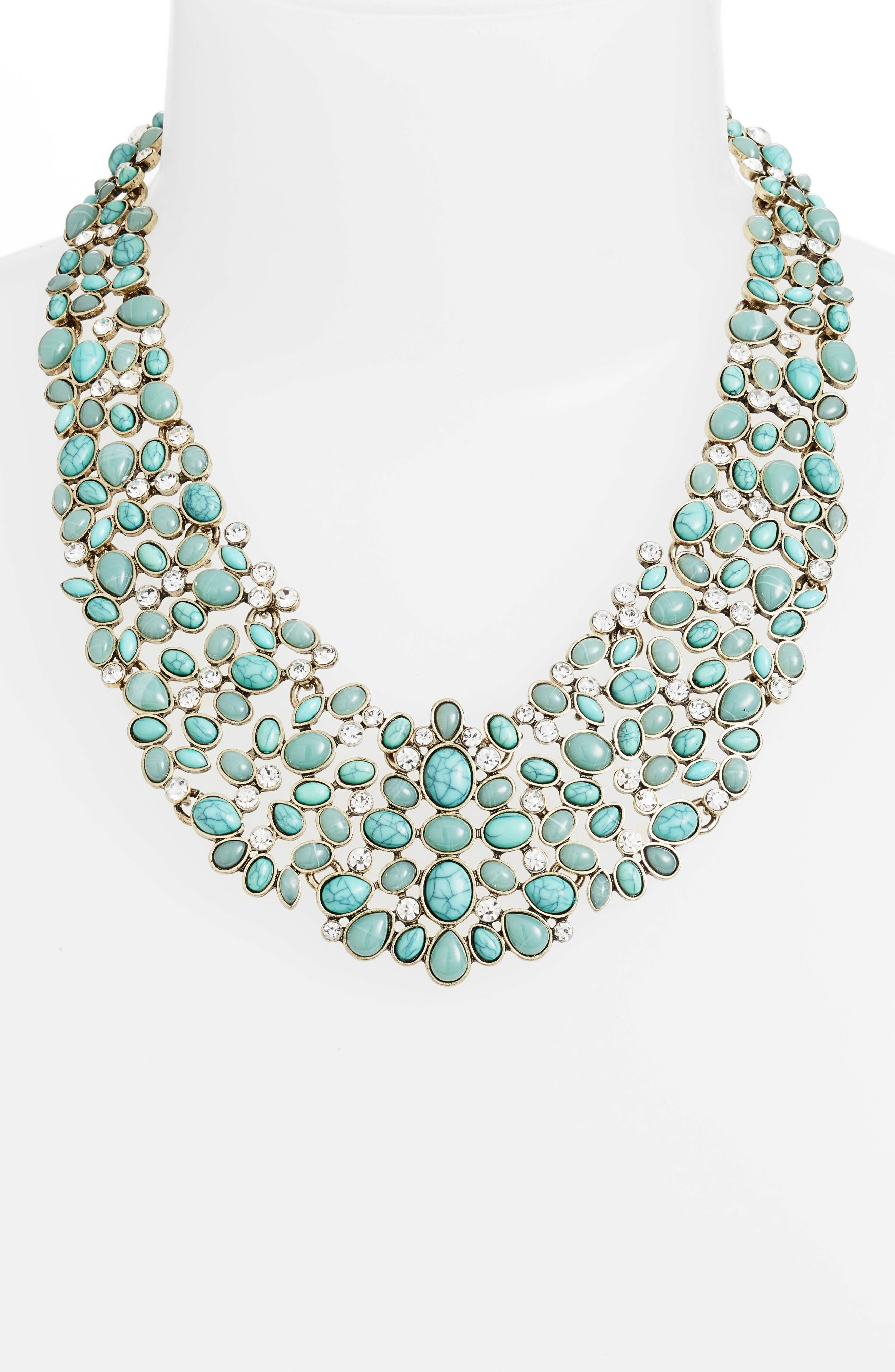 'Kew' Crystal Collar Necklace,                             Alternate thumbnail 3, color,                             Turquoise