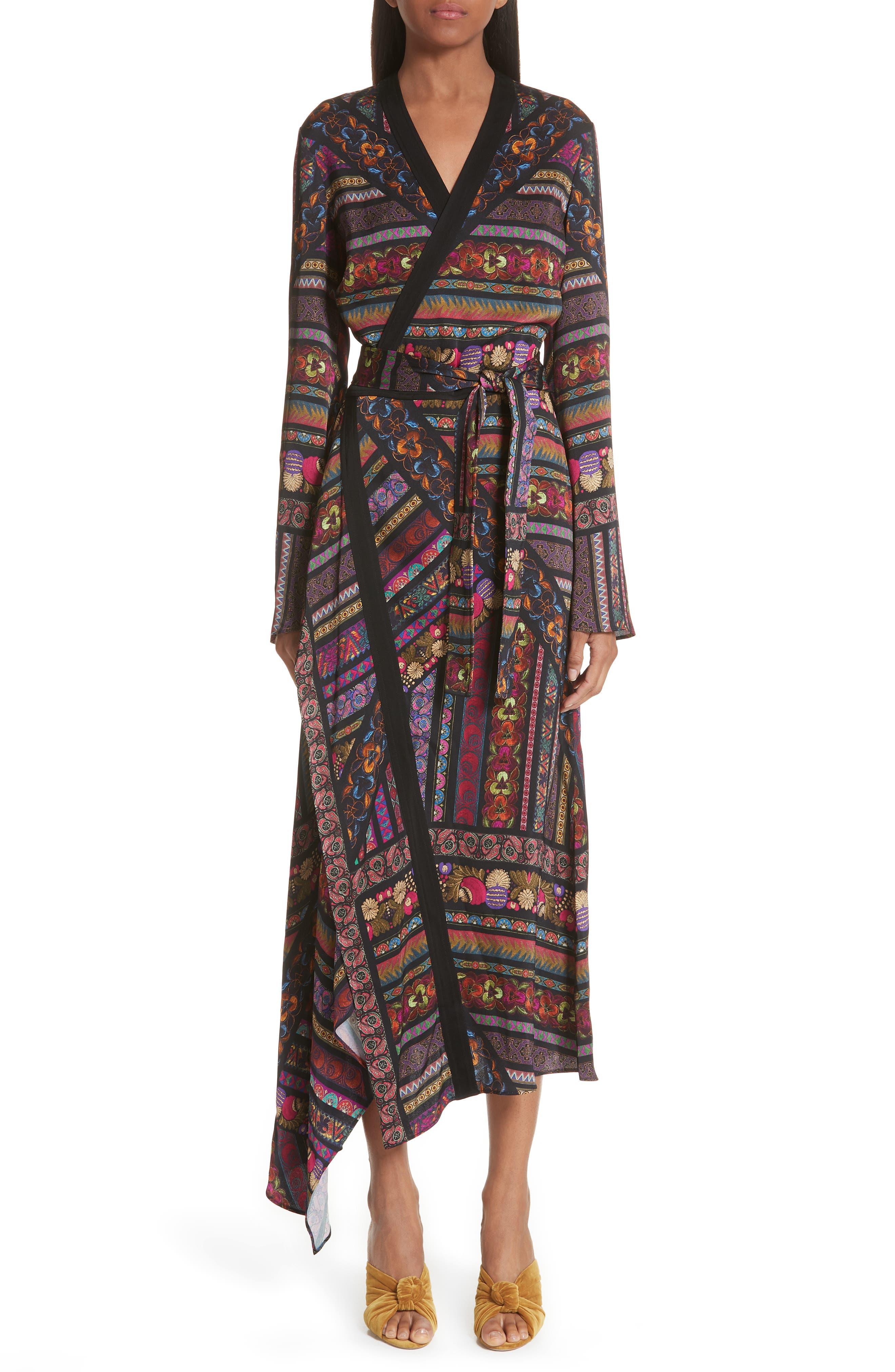 Etro Woman Printed Satin Dress Black Size 44 Etro BHhDpz