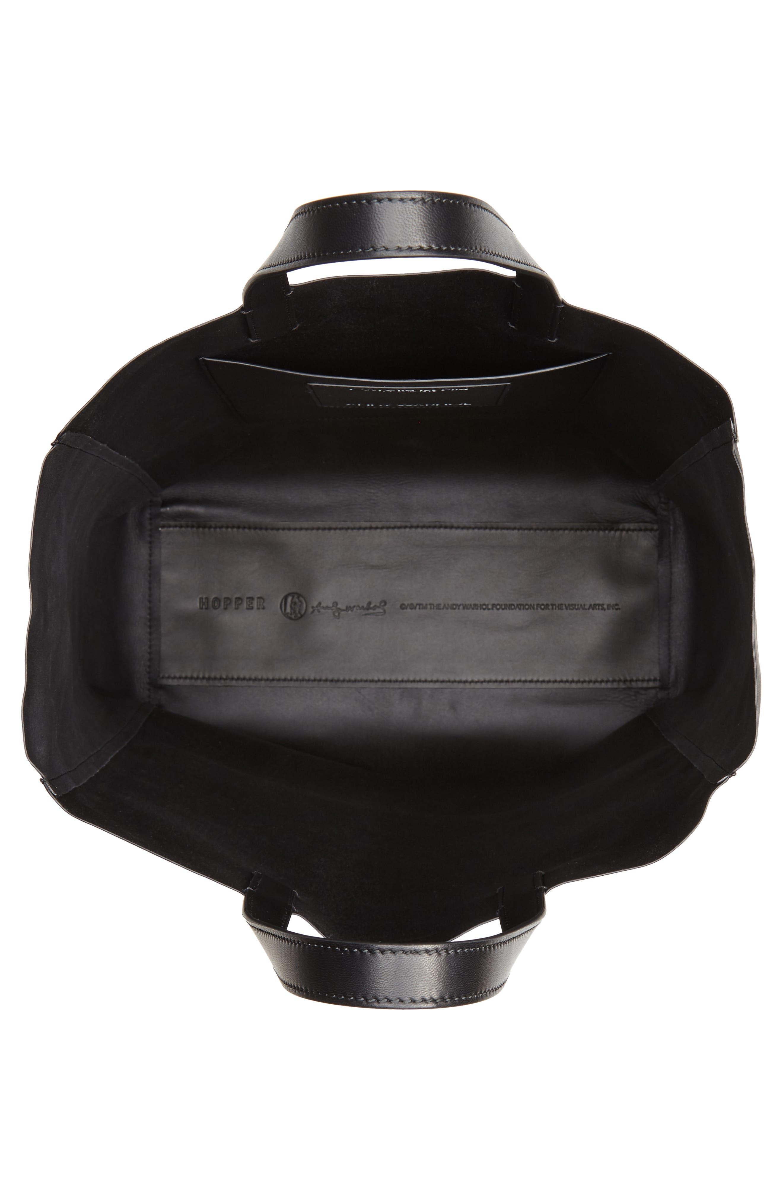 x Andy Warhol Foundation Dennis Hopper Calfskin Leather Bucket Bag,                             Alternate thumbnail 4, color,                             Black/ Red