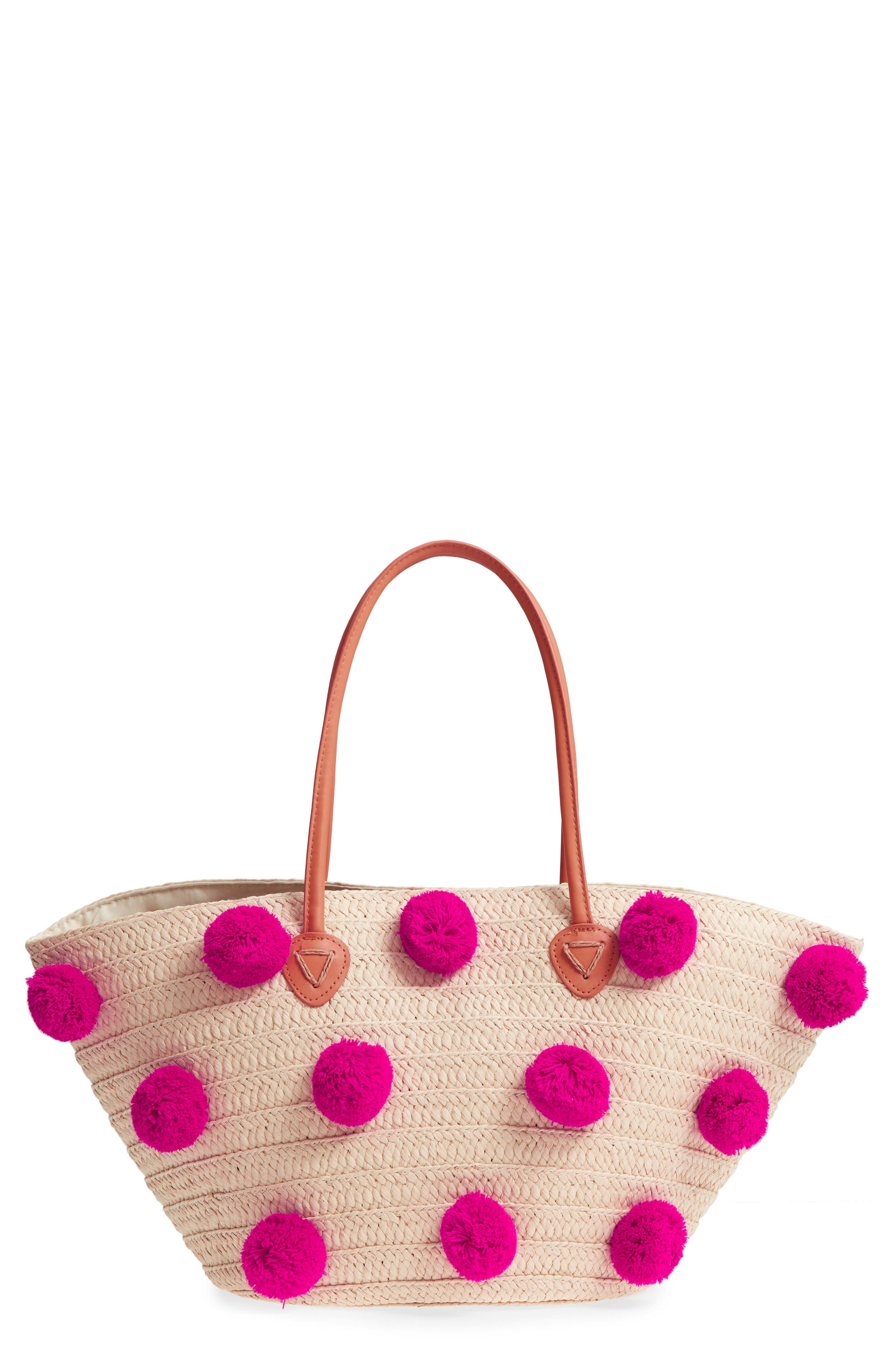 Klo Pompom Straw Tote,                             Main thumbnail 1, color,                             Pink