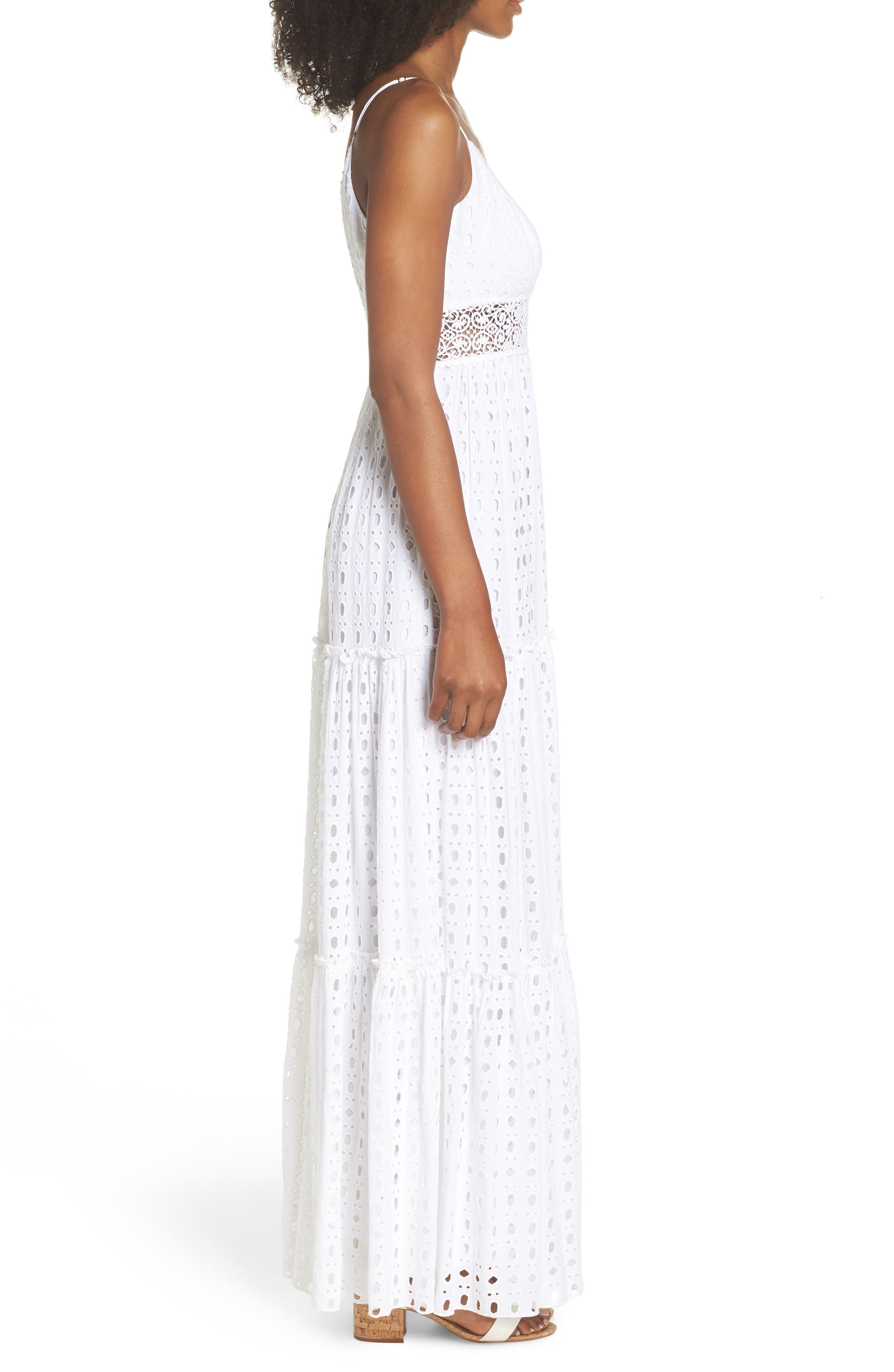 Melody Maxi Dress,                             Alternate thumbnail 3, color,                             Resort White Eyelet