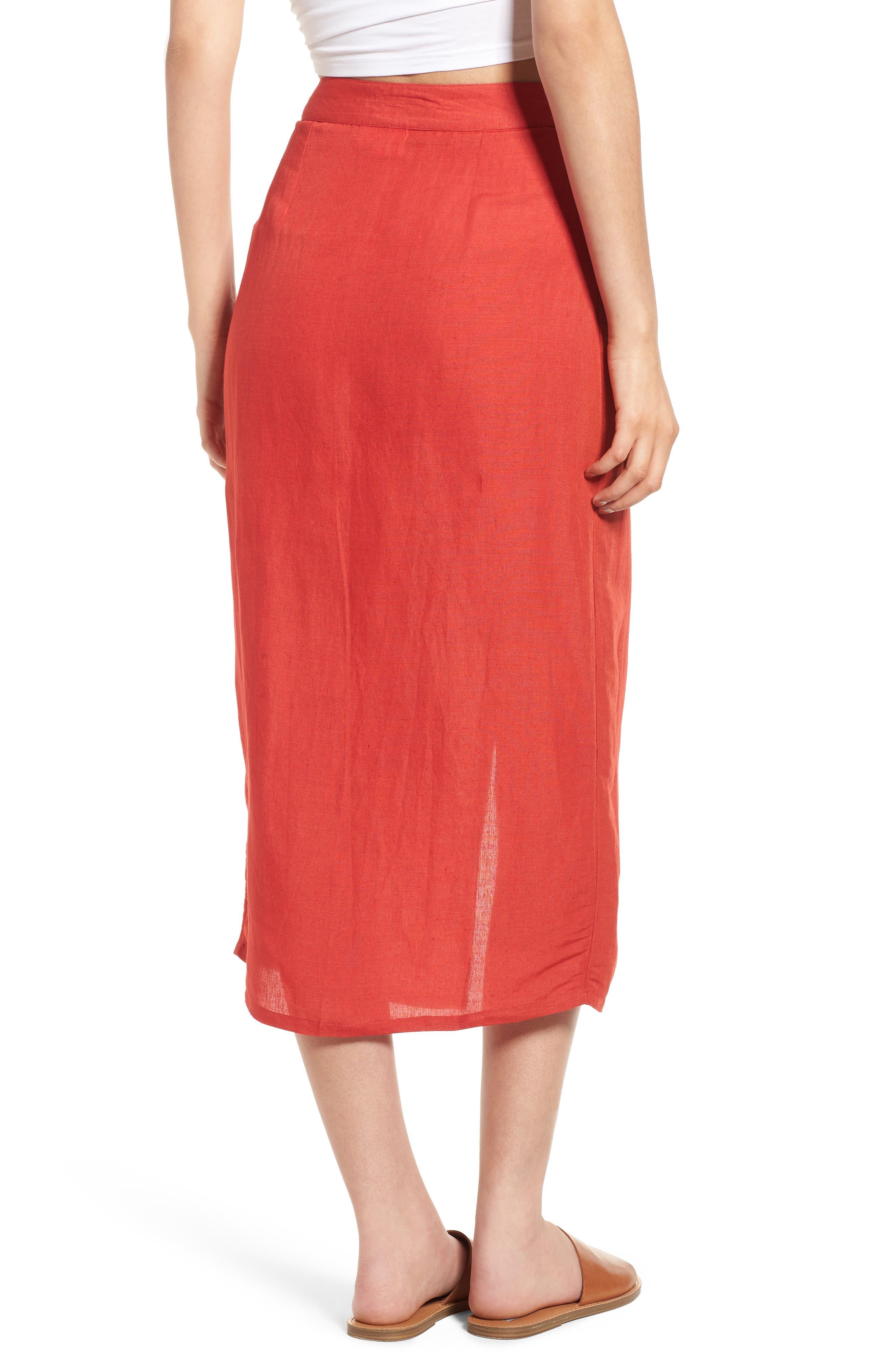 Linen Blend Midi Skirt,                             Alternate thumbnail 2, color,                             Red