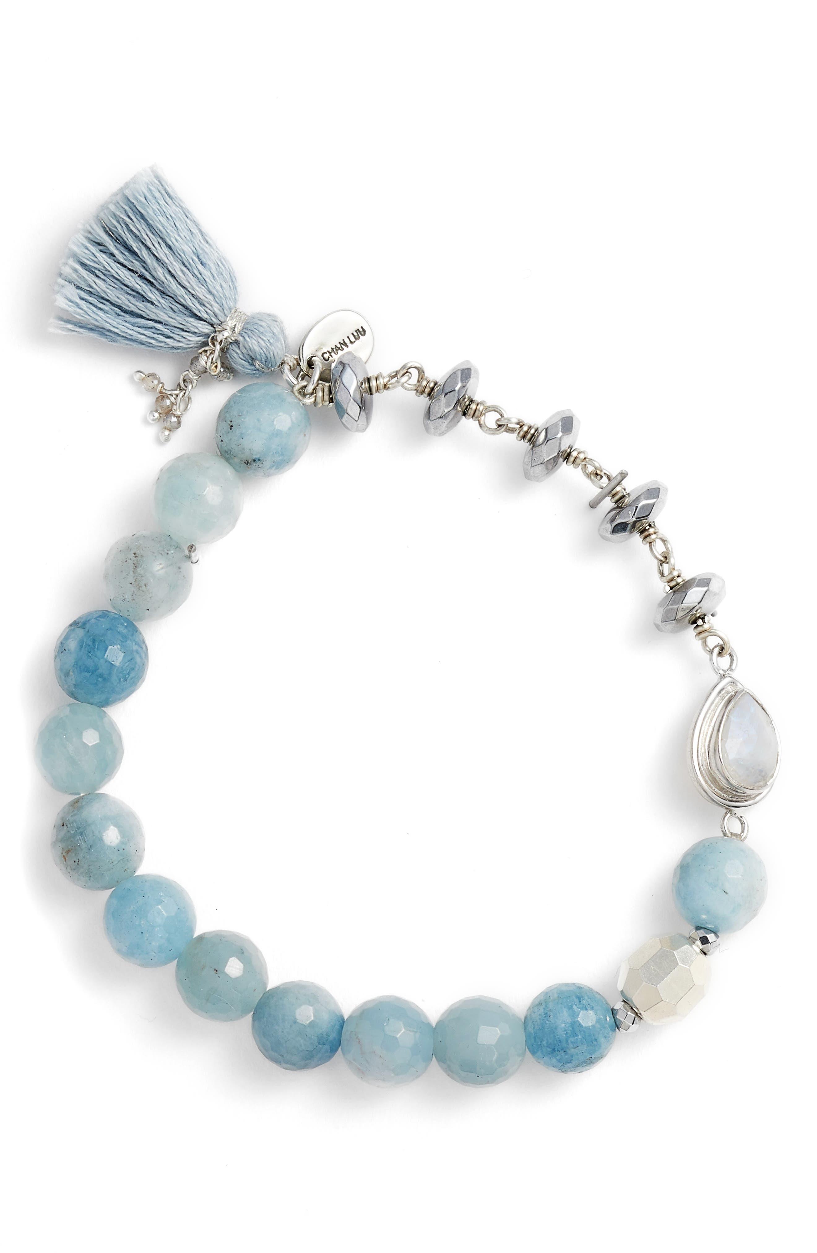 Aquamarine Stretch Bracelet,                             Main thumbnail 1, color,                             Aquamarine