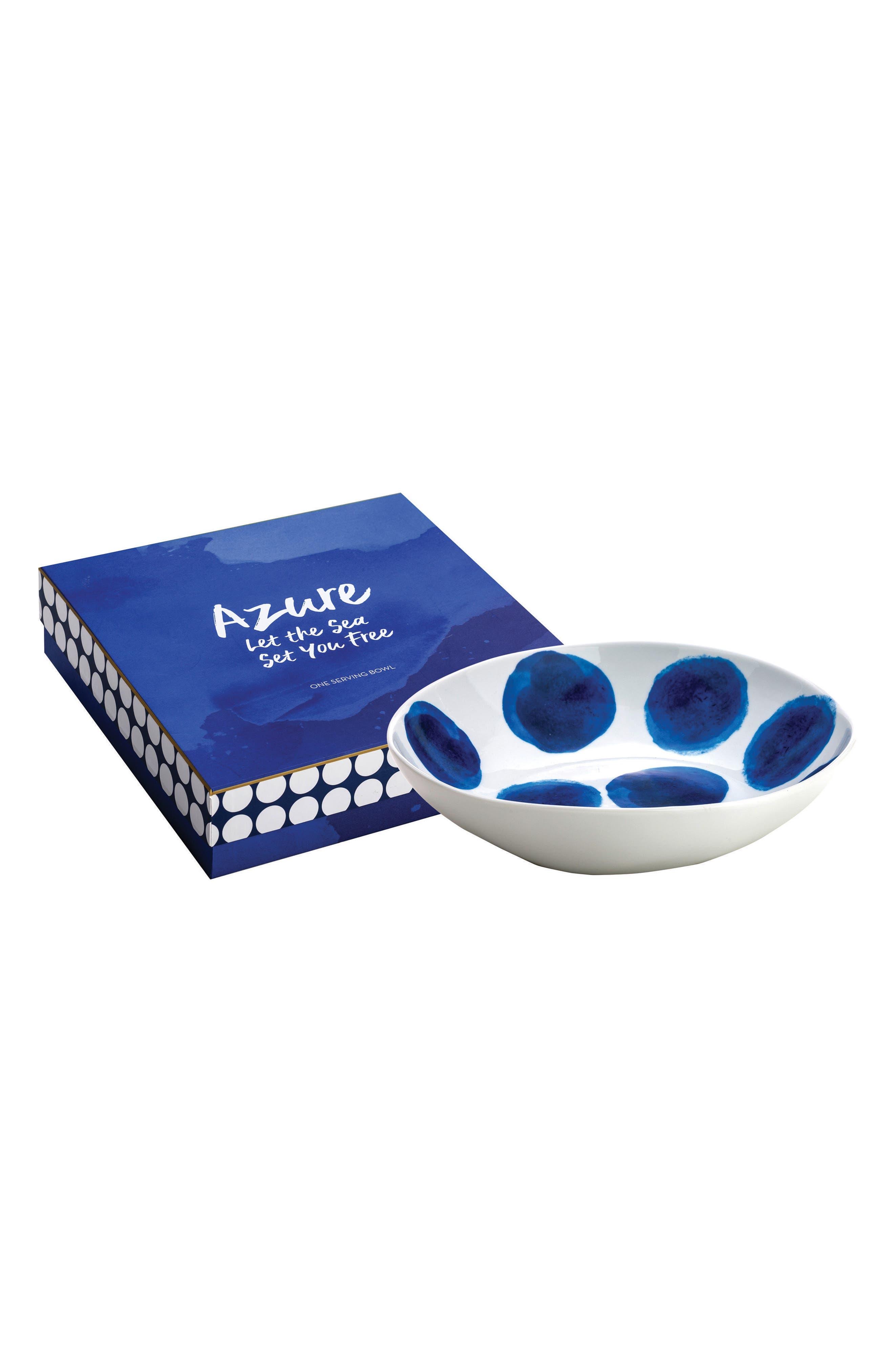 Polka Dot Serving Bowl,                         Main,                         color, Blue/ White