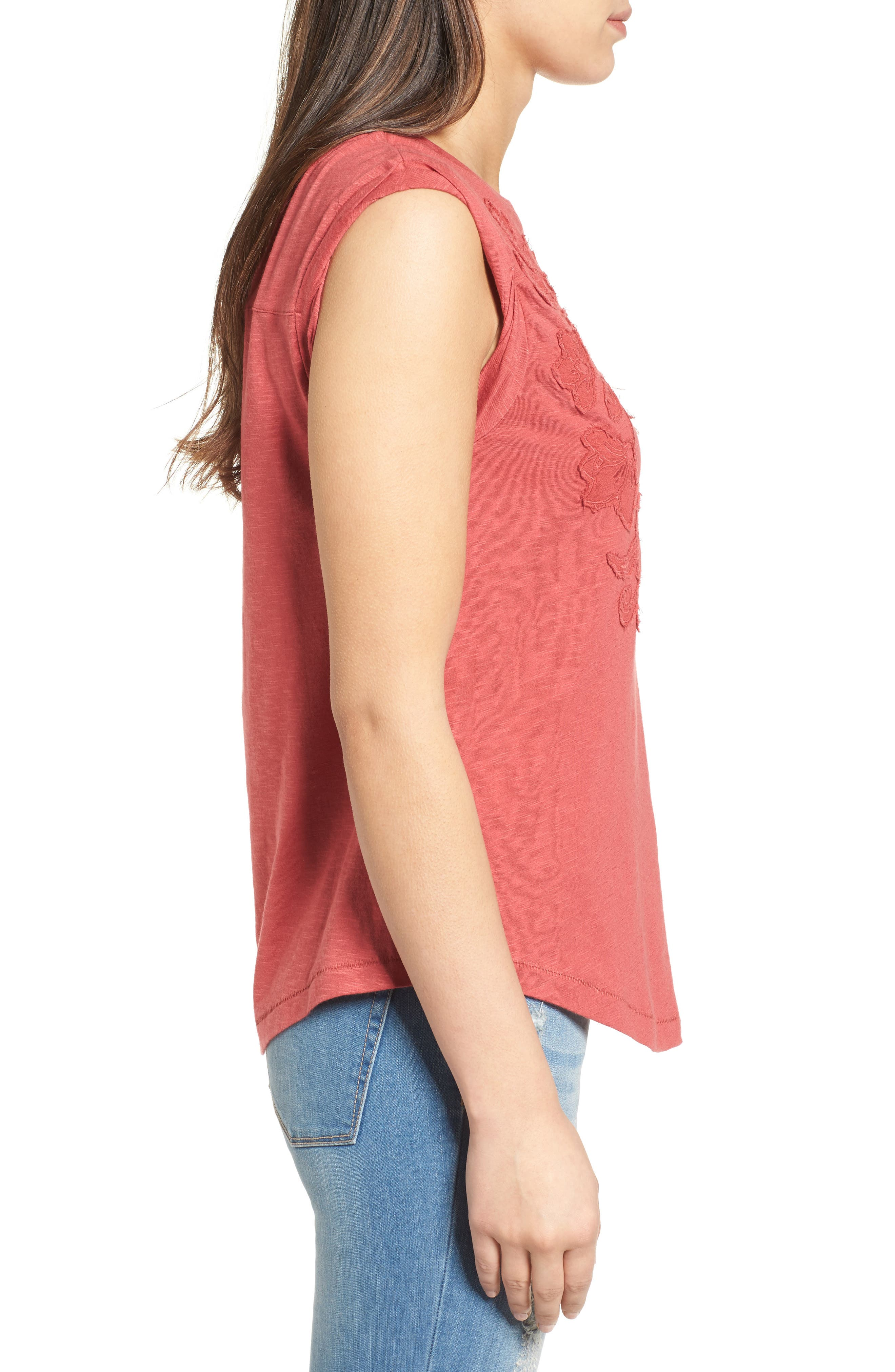 Embroidered Slub Knit Tank,                             Alternate thumbnail 3, color,                             Red Earth