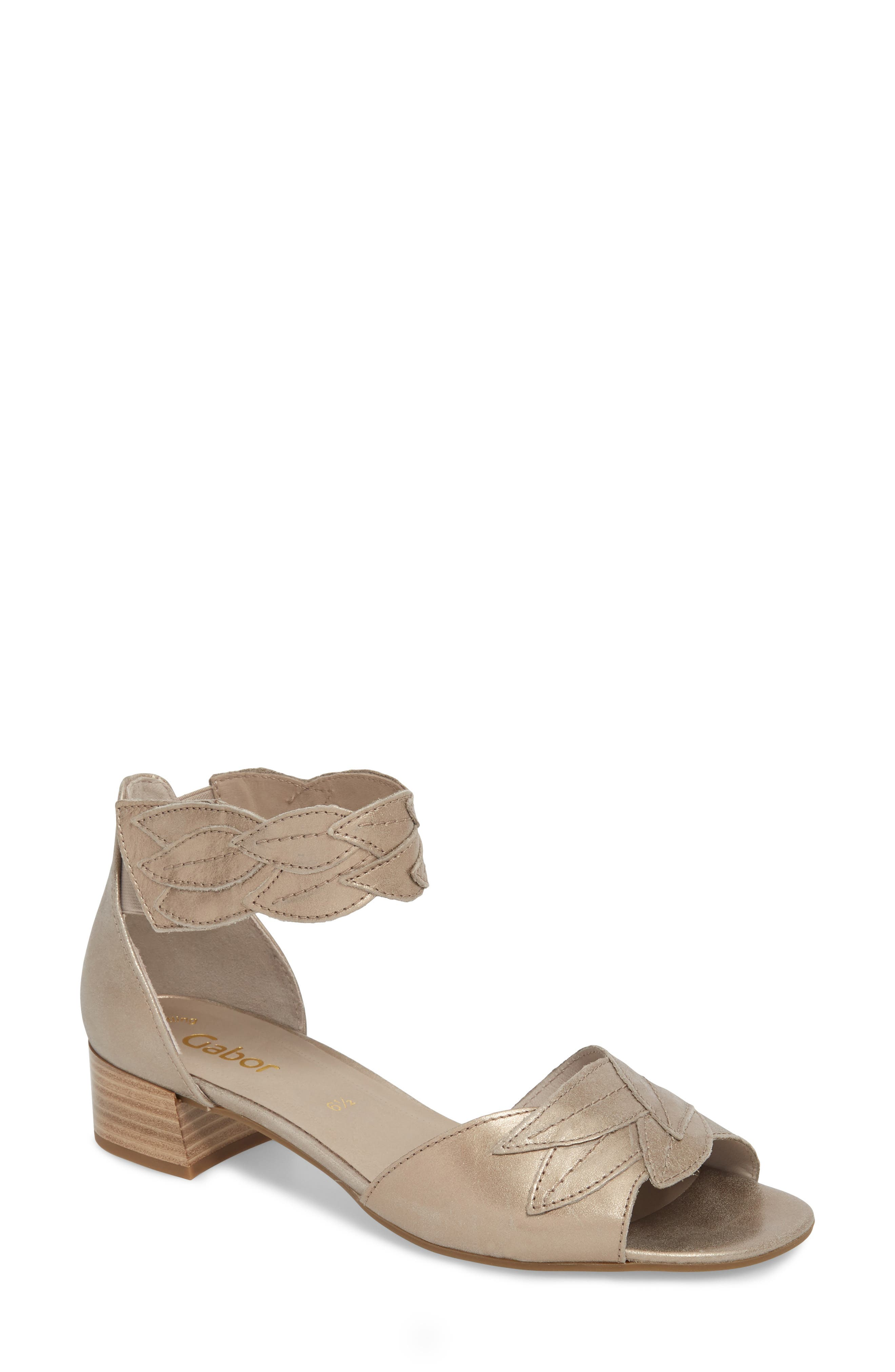 Leaf Ankle Strap Sandal,                             Main thumbnail 1, color,                             Beige Metallic Leather