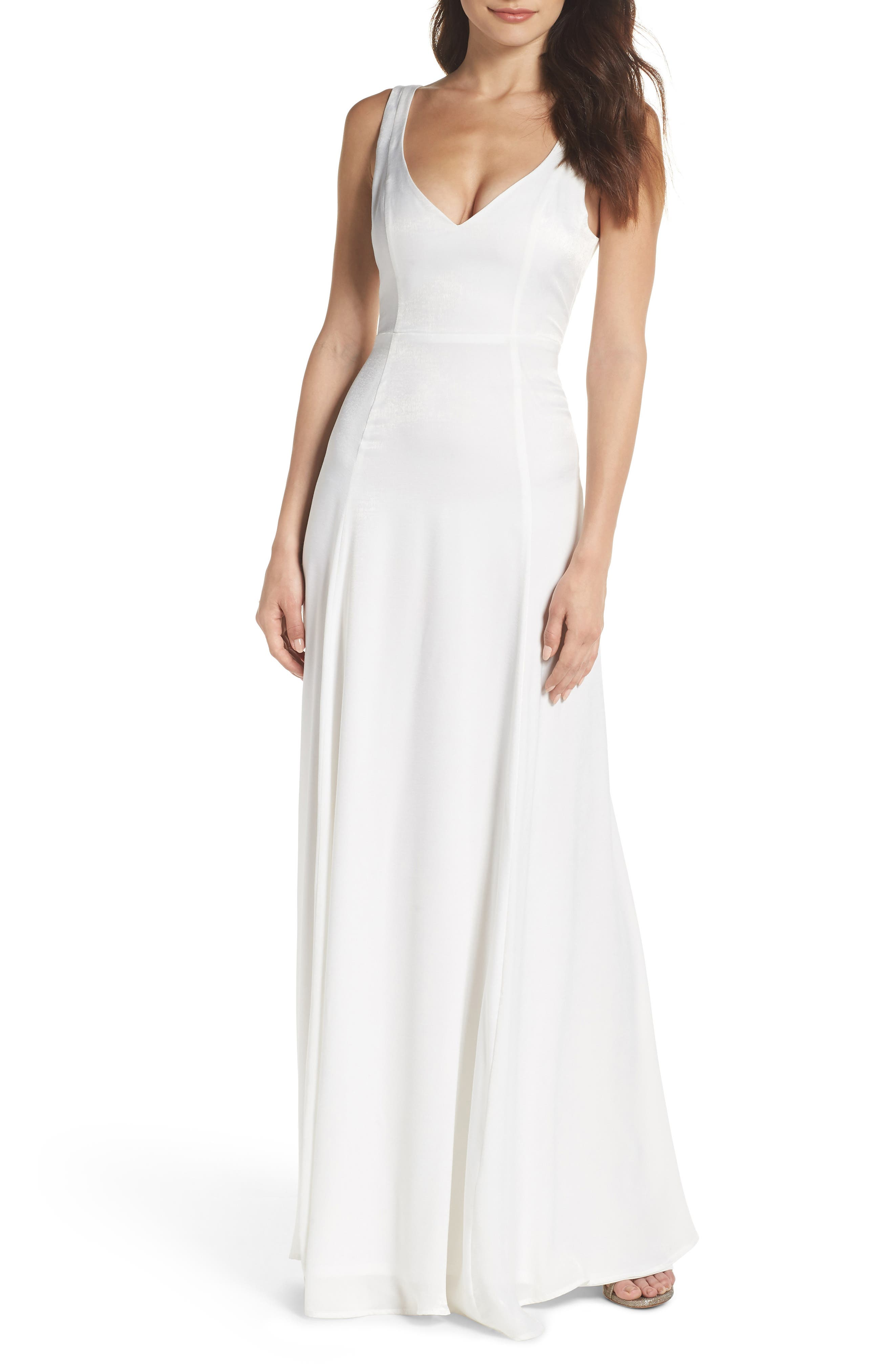 Jen Maxi Gown,                             Main thumbnail 1, color,                             Ivory Sheen