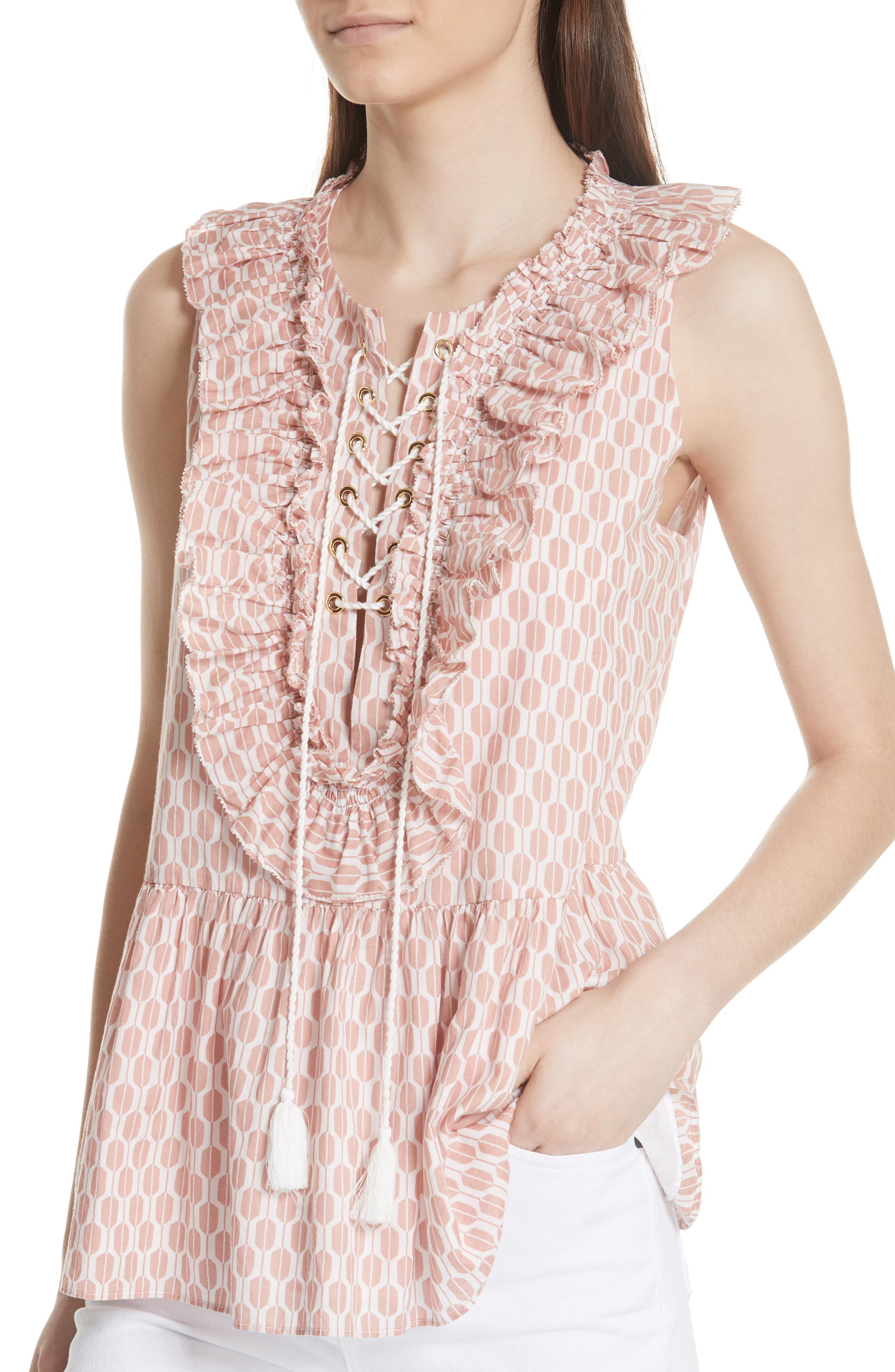 arrow stripe lace-up top,                             Alternate thumbnail 3, color,                             Fresh White/ Conch Shell