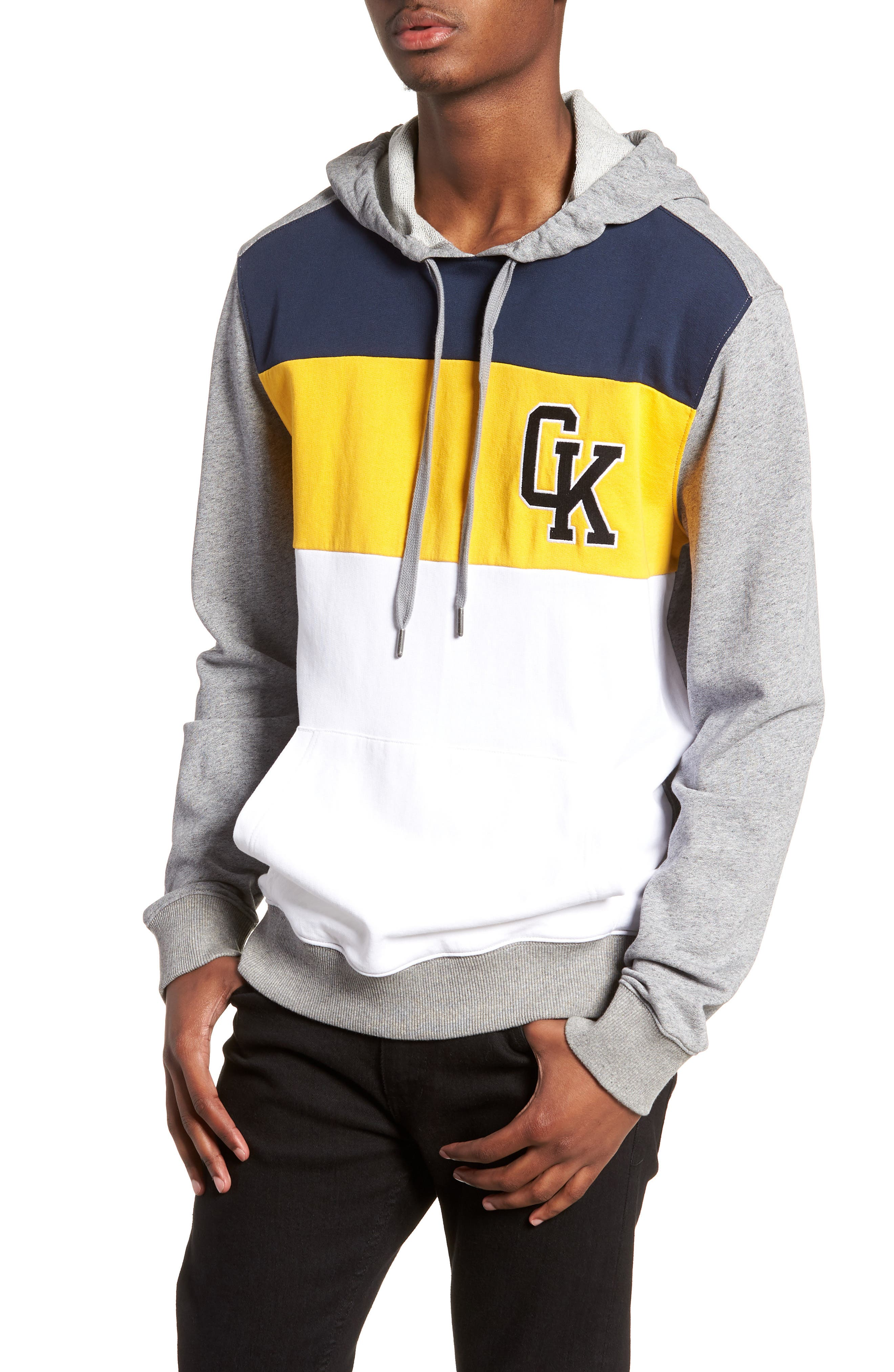 Collegiate Colorblock Hoodie,                             Main thumbnail 1, color,                             Prime Heather