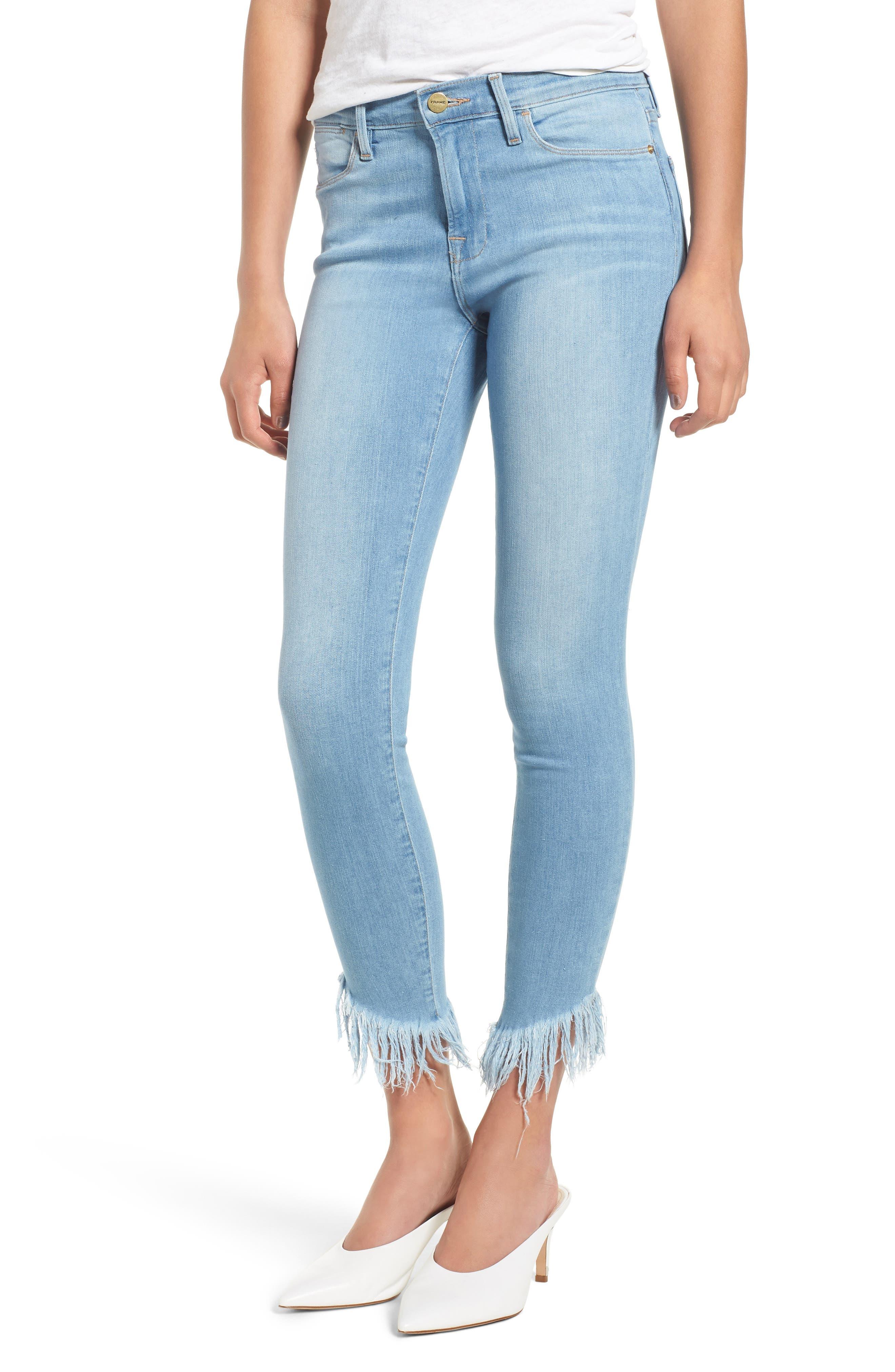 Le High Shredded Hem Skinny Jeans,                             Main thumbnail 1, color,                             Eling