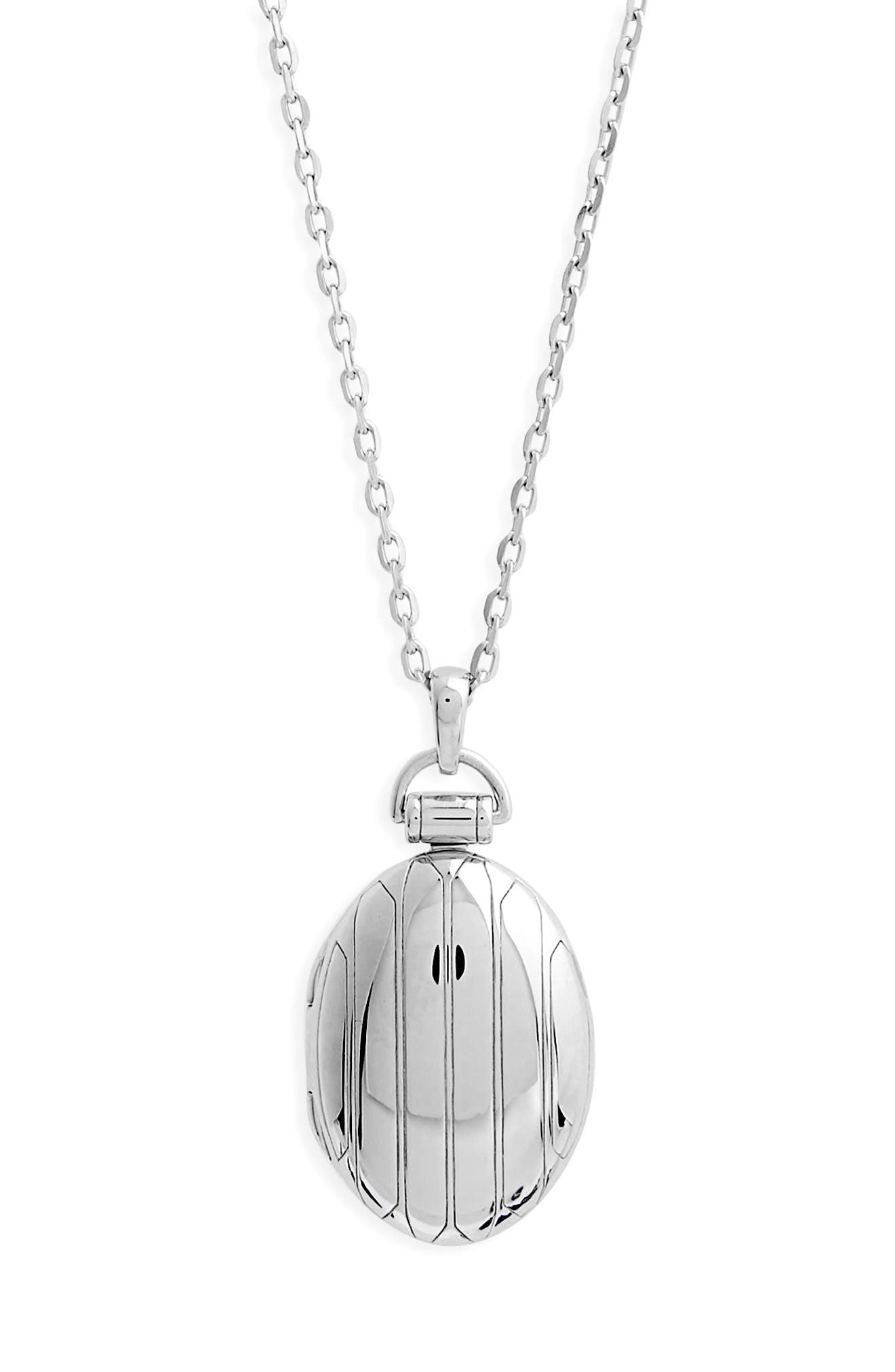 Locket Necklace,                             Alternate thumbnail 2, color,                             Sterling Silver
