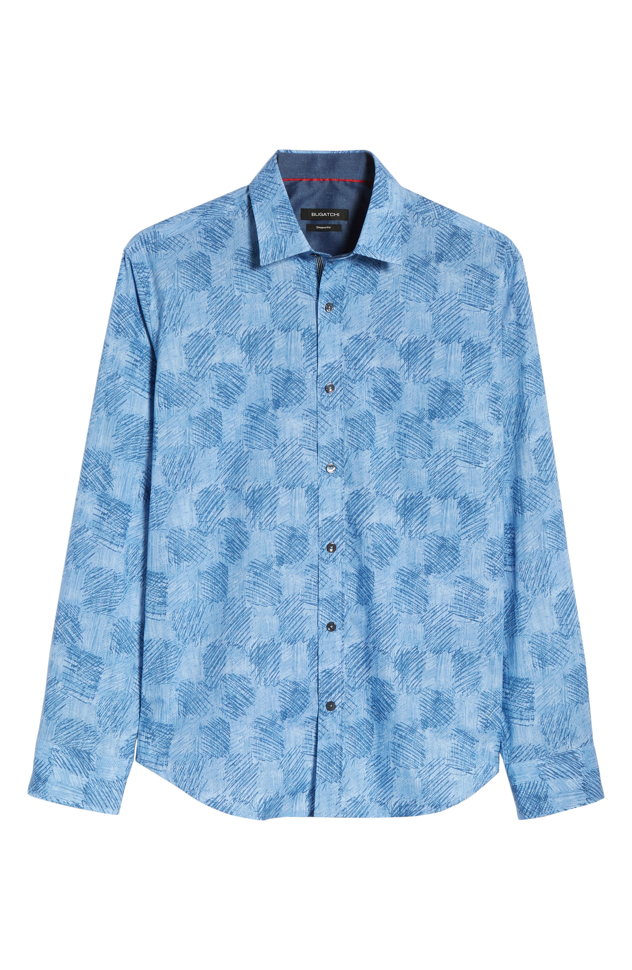 Shaped Fit Abstract Check Sport Shirt,                             Alternate thumbnail 6, color,                             Air Blue