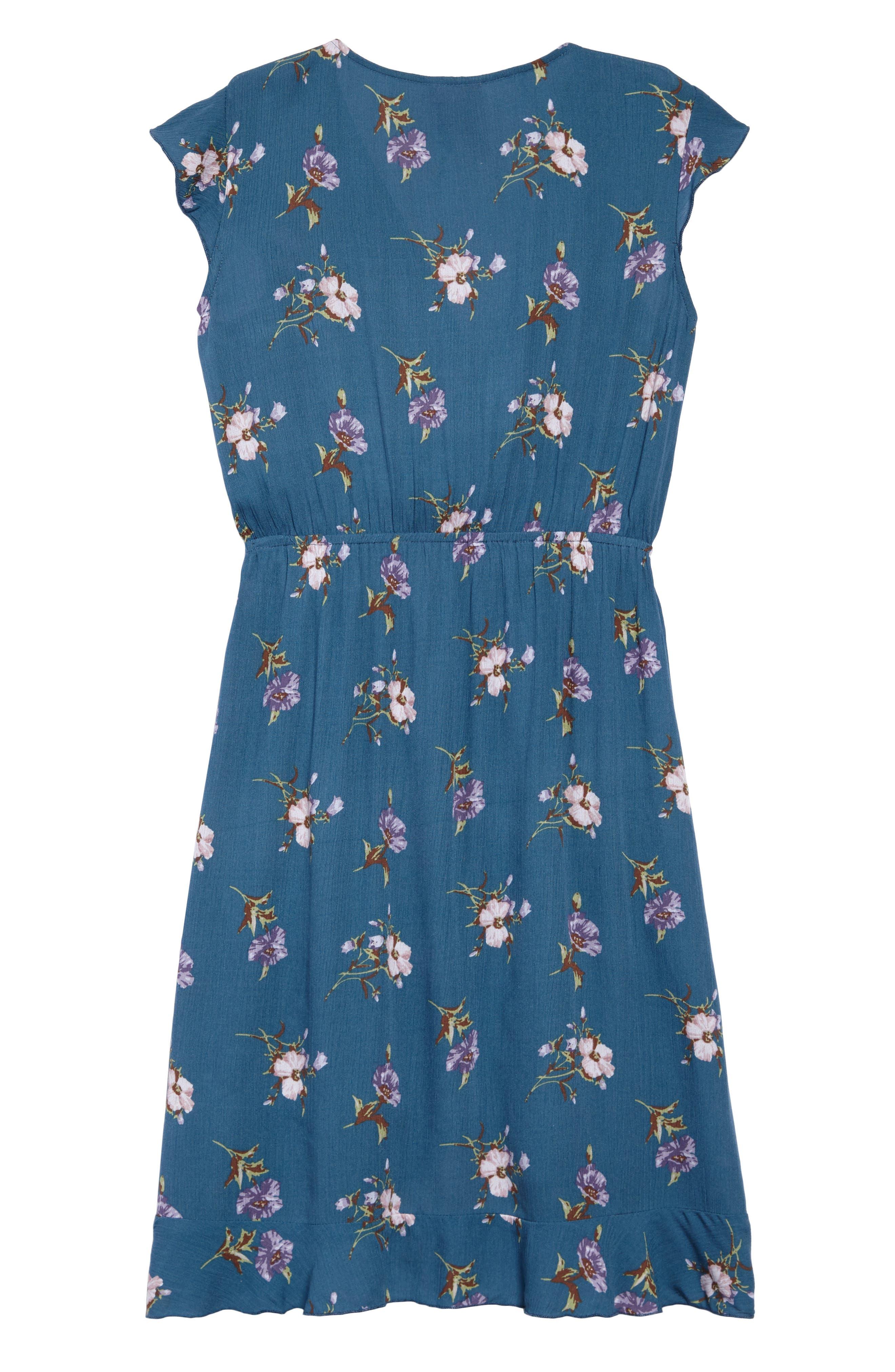 Floral Wrap Dress,                             Alternate thumbnail 2, color,                             Blue Multi