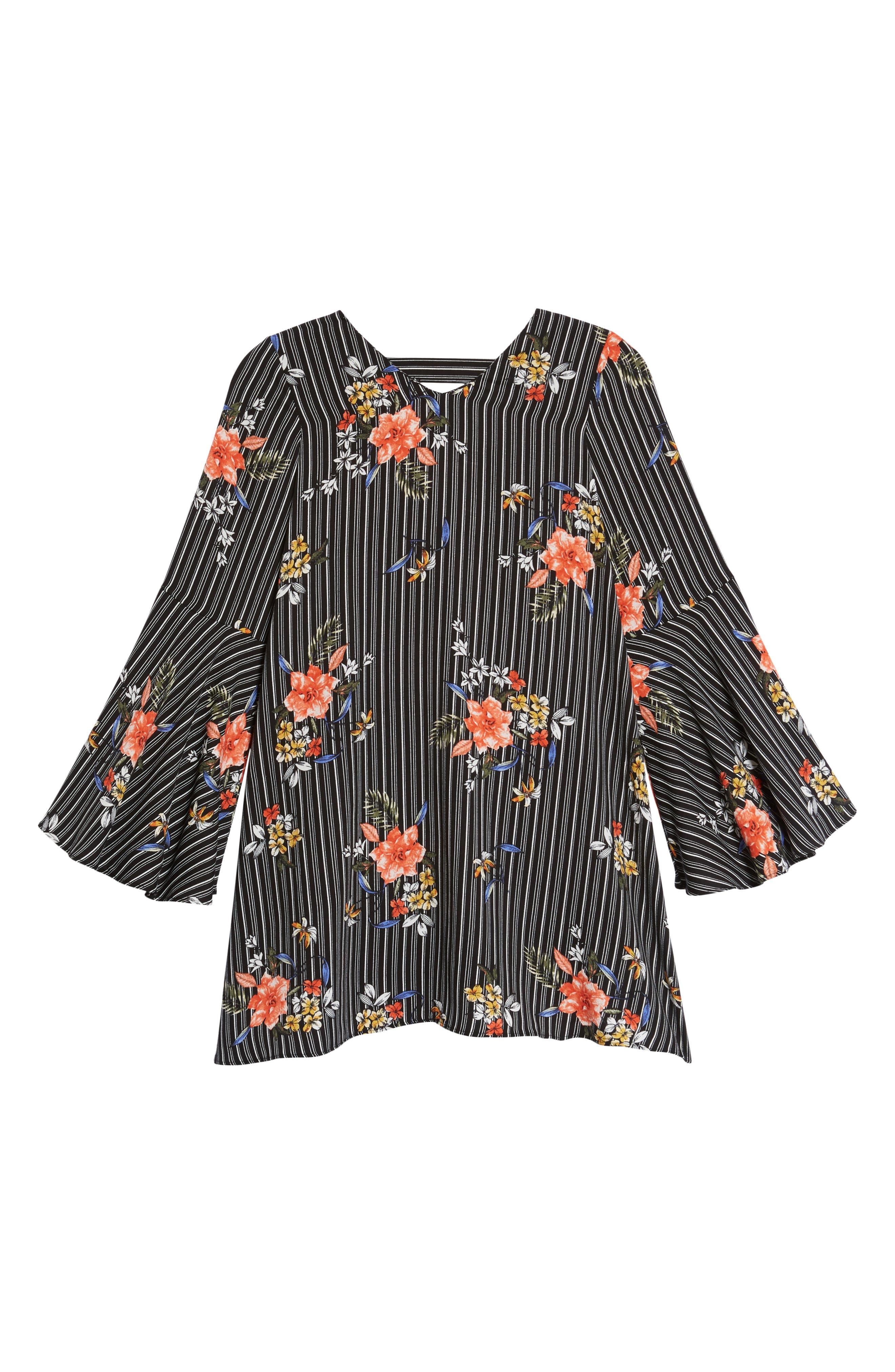 Print Bell Sleeve Shift Dress,                         Main,                         color, 002 Black