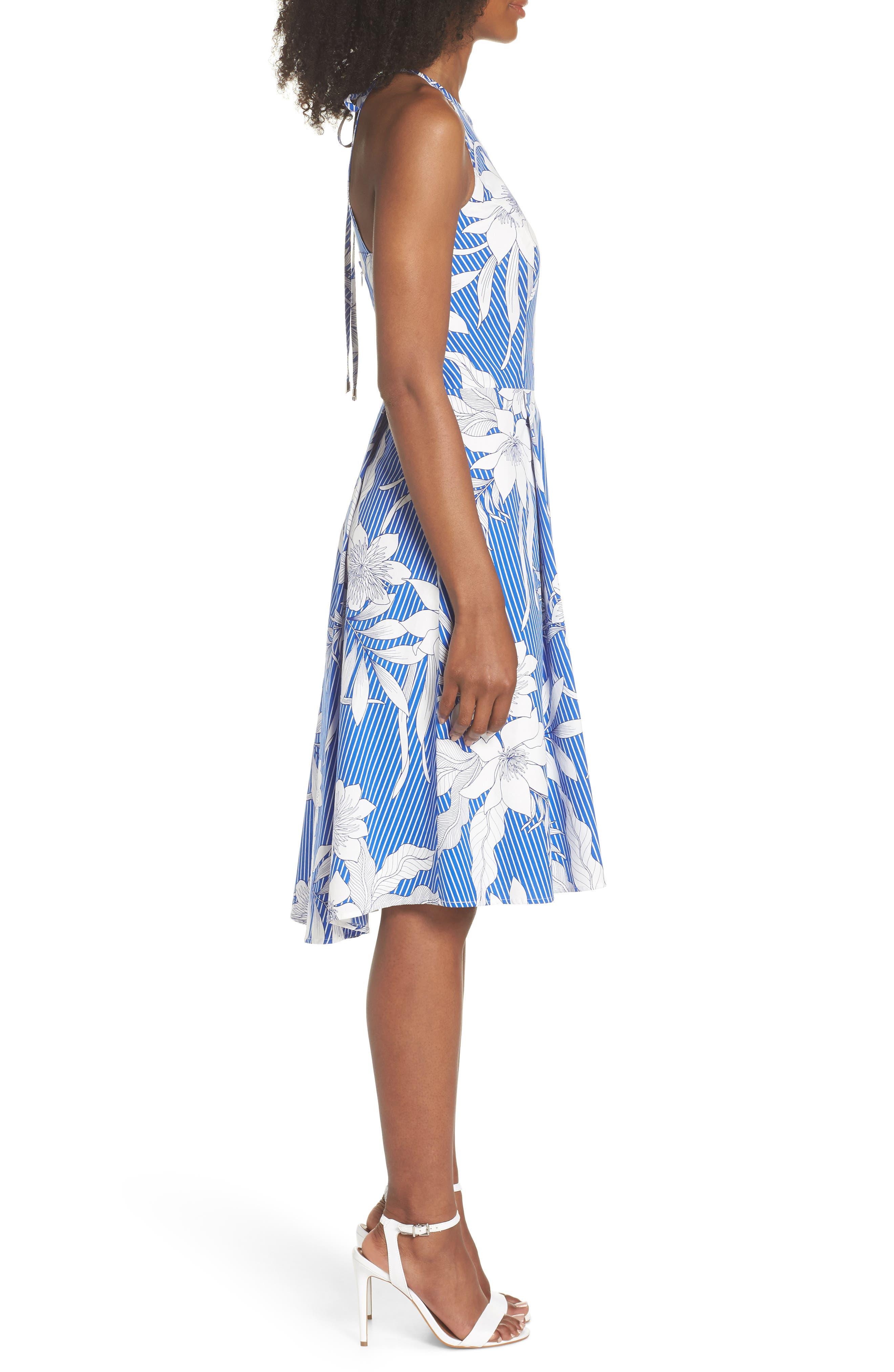 Print Poplin Fit & Flare Dress,                             Alternate thumbnail 3, color,                             Soft White/ Blue