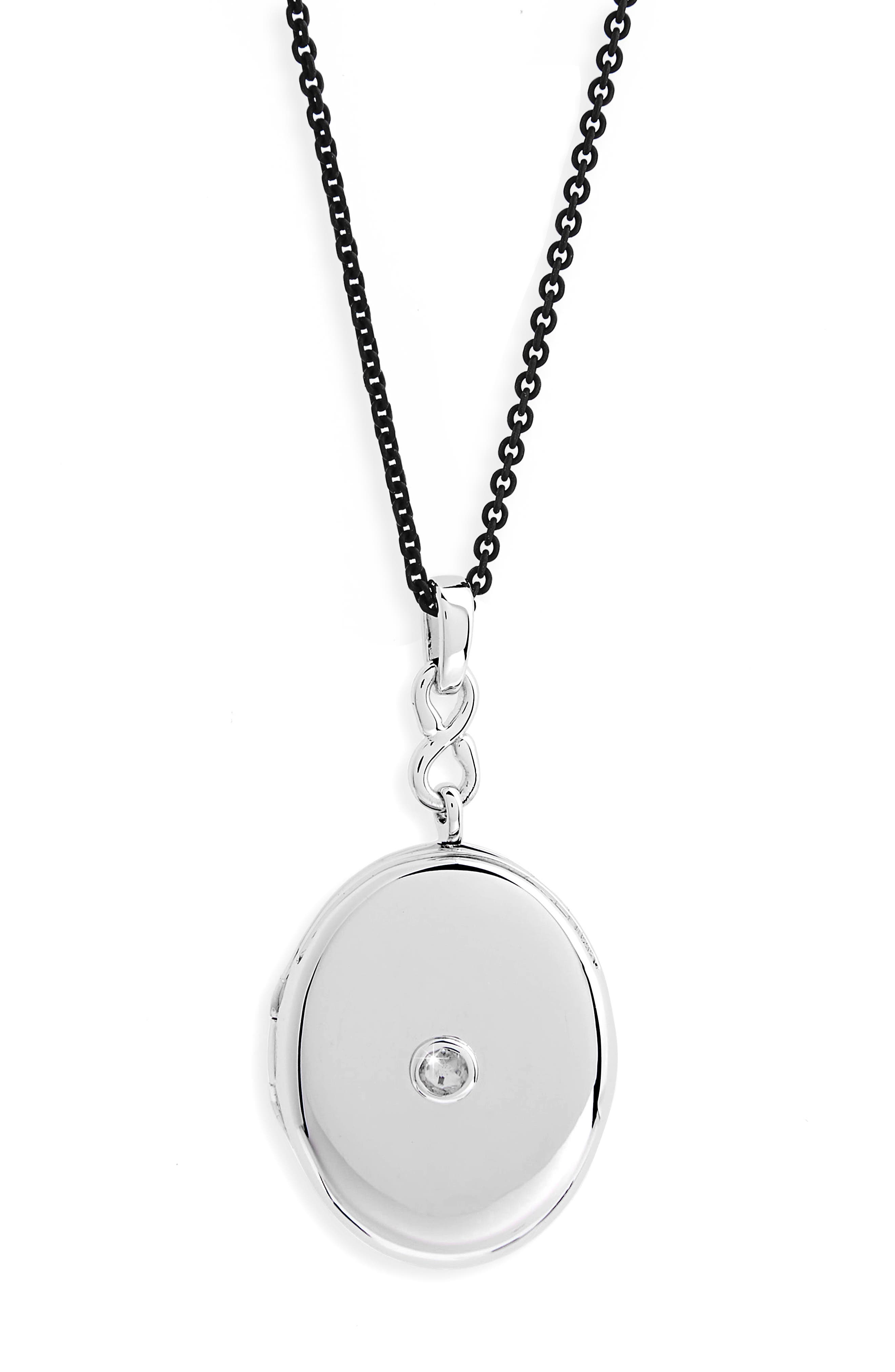 White Sapphire Locket Necklace,                             Alternate thumbnail 2, color,                             Sterling Silver